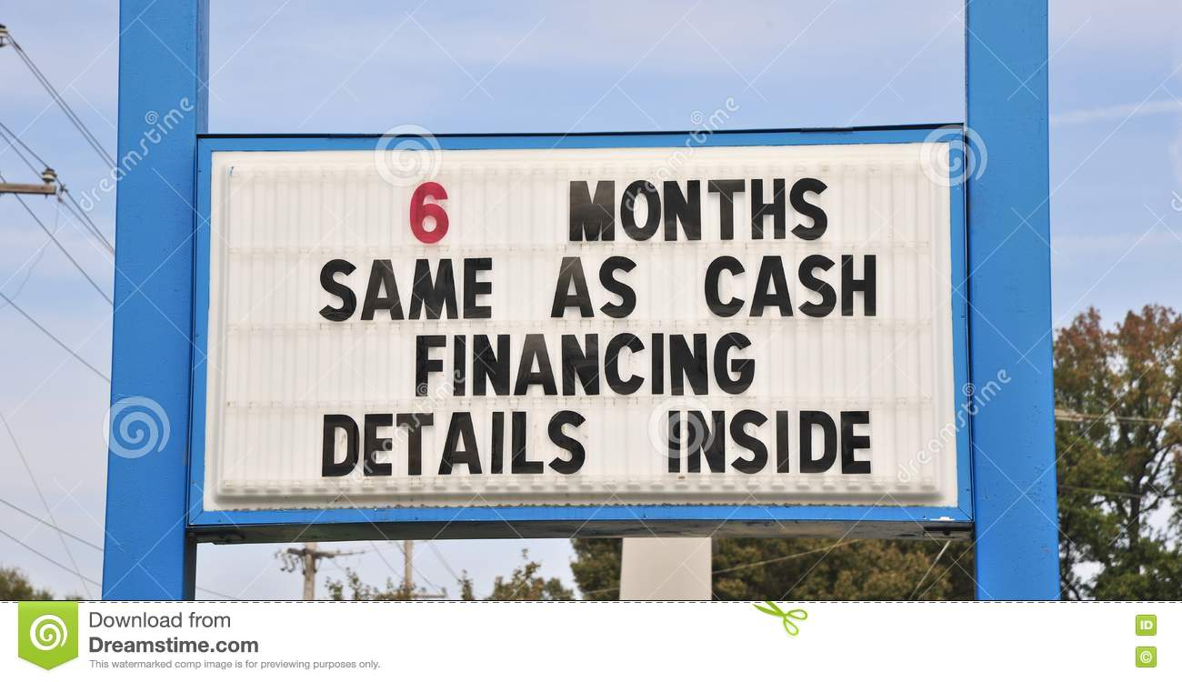 Term Financing Sign Stock Photo Image - 6 months same as cash financing