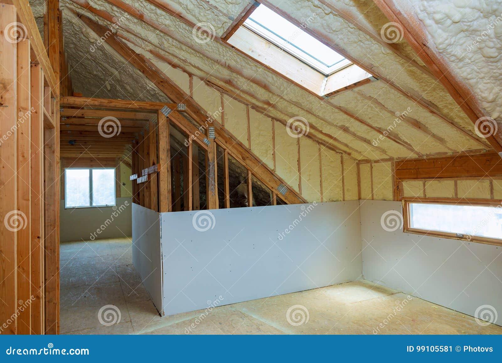 Termal Isolierung Die Am Dachboden Installiert Stockbild Bild Von