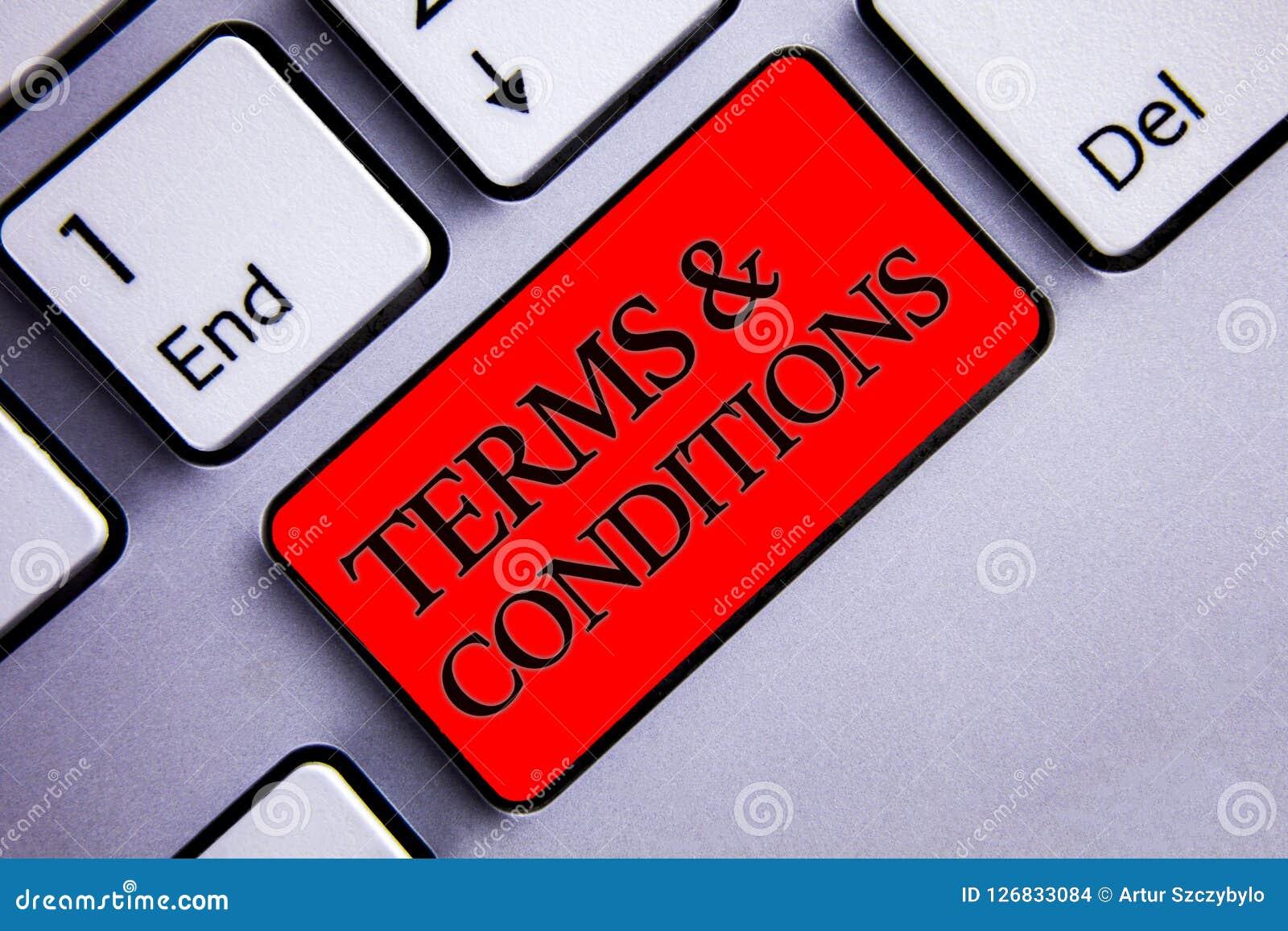Termes et conditions des textes d écriture de Word Le concept d affaires pour l affichage juridique de règlement de restrictions