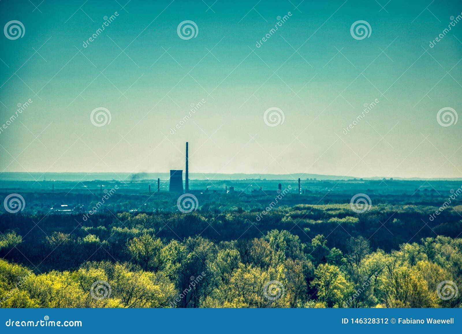 Termiczni elektrownia kominy między lasowymi drzewami