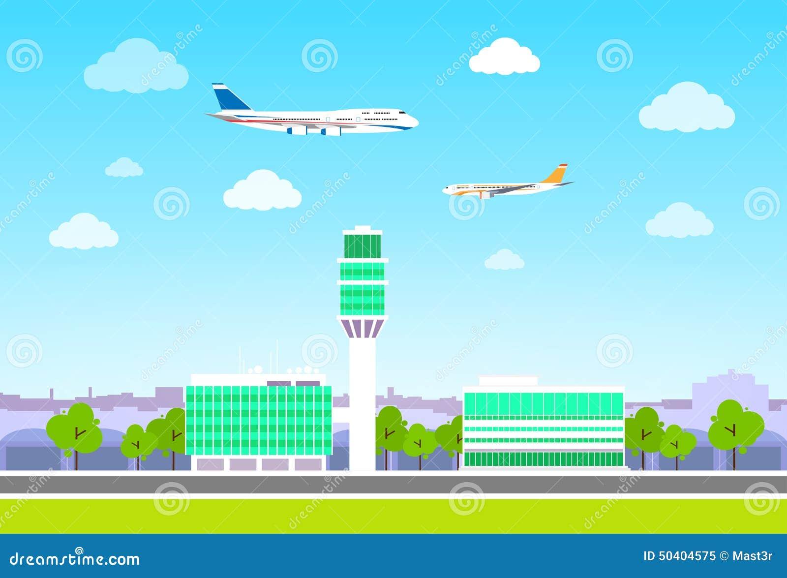 Terminal de aeropuerto con los aviones que vuelan diseño plano
