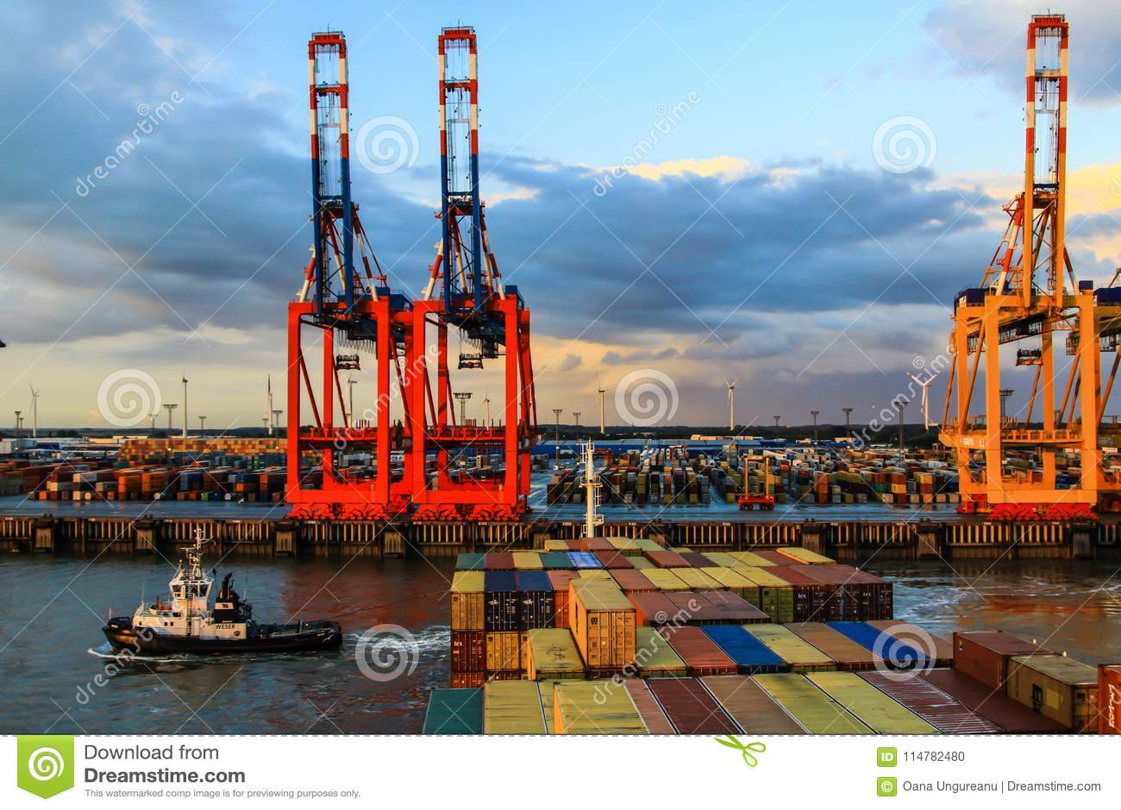 Terminale di contenitore in Bremerhaven, Germania