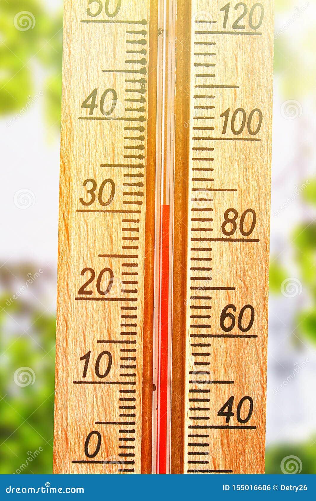 Termometer Som Visar H?jdpunkt 30 Grad Varma Temperaturer I