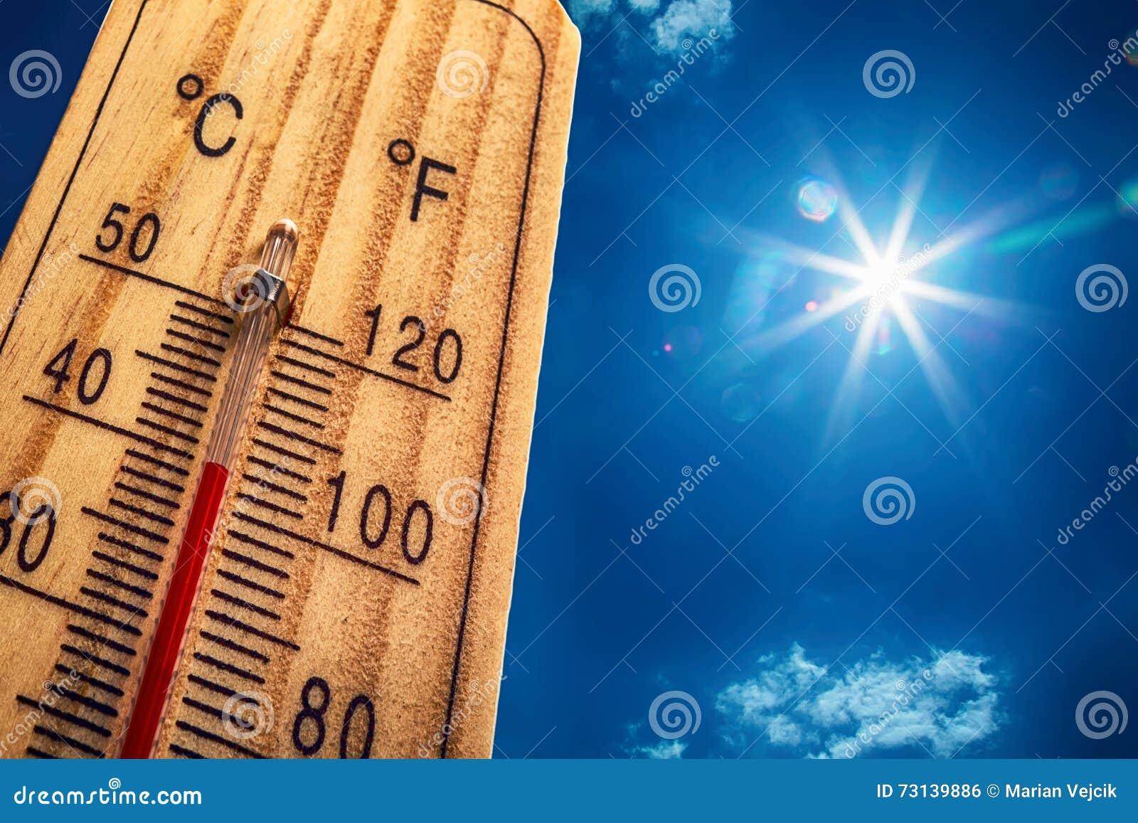 Termometersolhimmel 40 Degres varm sommar för dag Höga sommartemperaturer i celsiusa grader och Farenheit