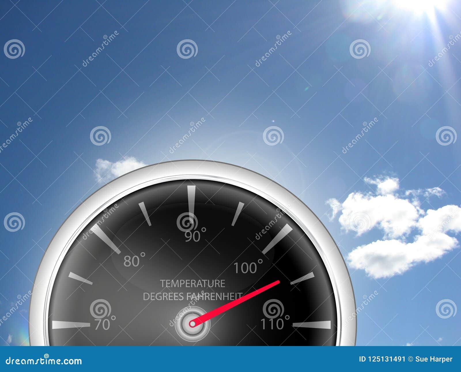 Termometro del calibro di temperatura che mostra i gradi di Fahrenheit per il tempo di onda di calore