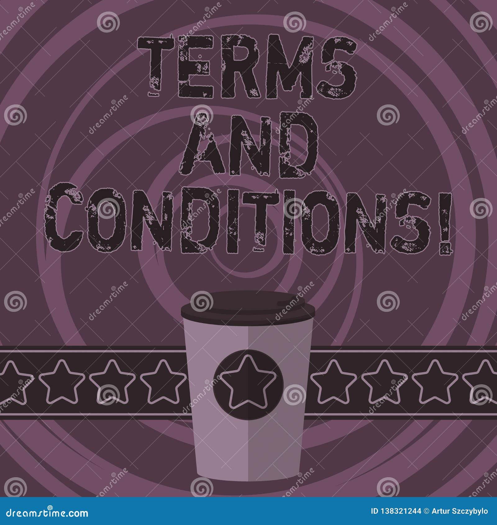Termos e condições do texto da escrita da palavra Conceito do negócio para o detalhe as regras que se aplicam para carregar um de