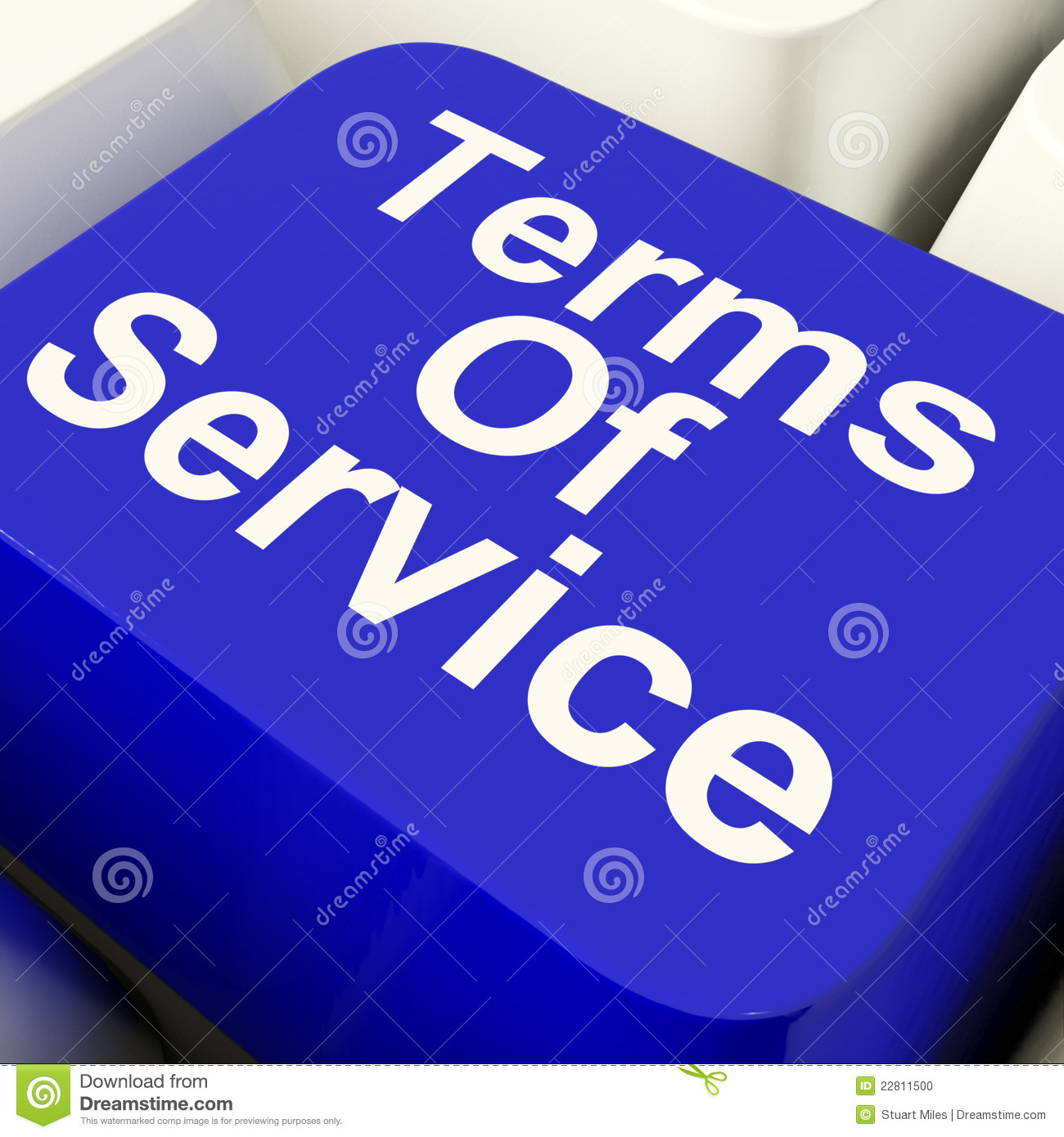 Terms Service Puter Key In Blue Stock Image