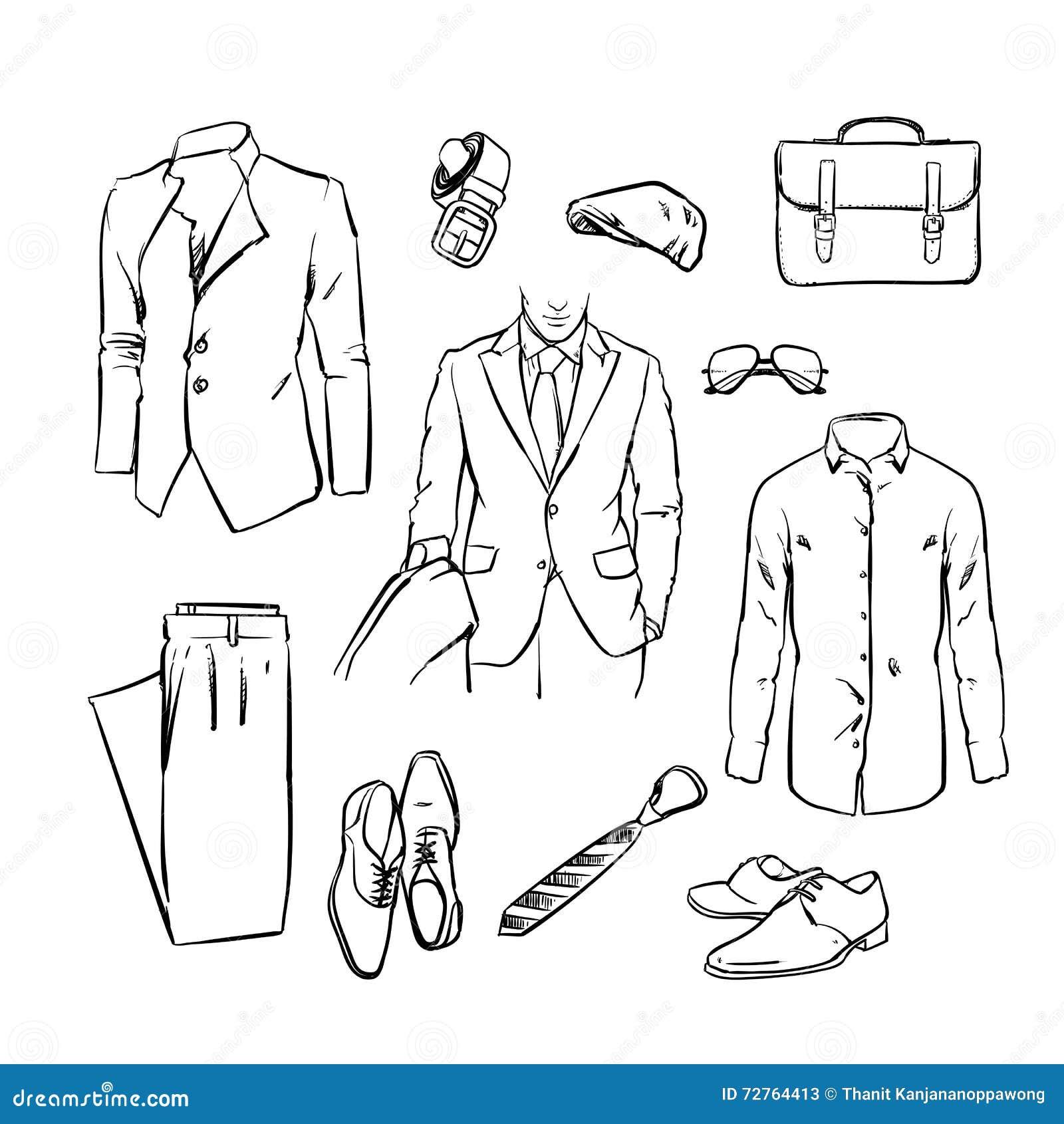 Terno considerável do homem de negócio uniforme do escritório Esboço do vetor
