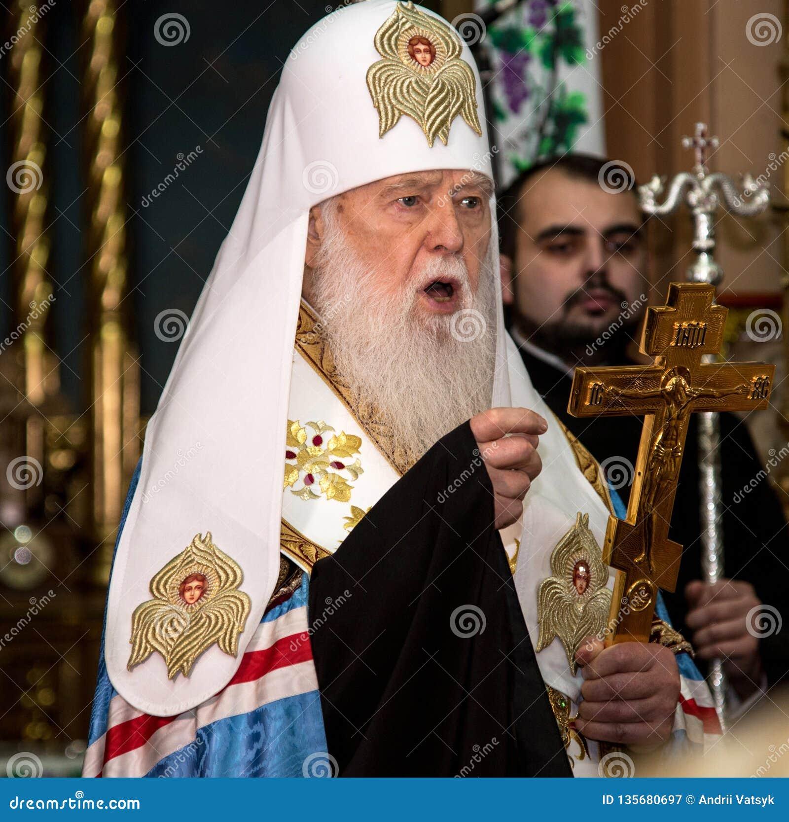 "Ternopil,  de DeÑ del †de UCRANIA "" 18, 2018: Patriarca honorario de la iglesia ortodoxa ucraniana autocephalous unida Filaret"