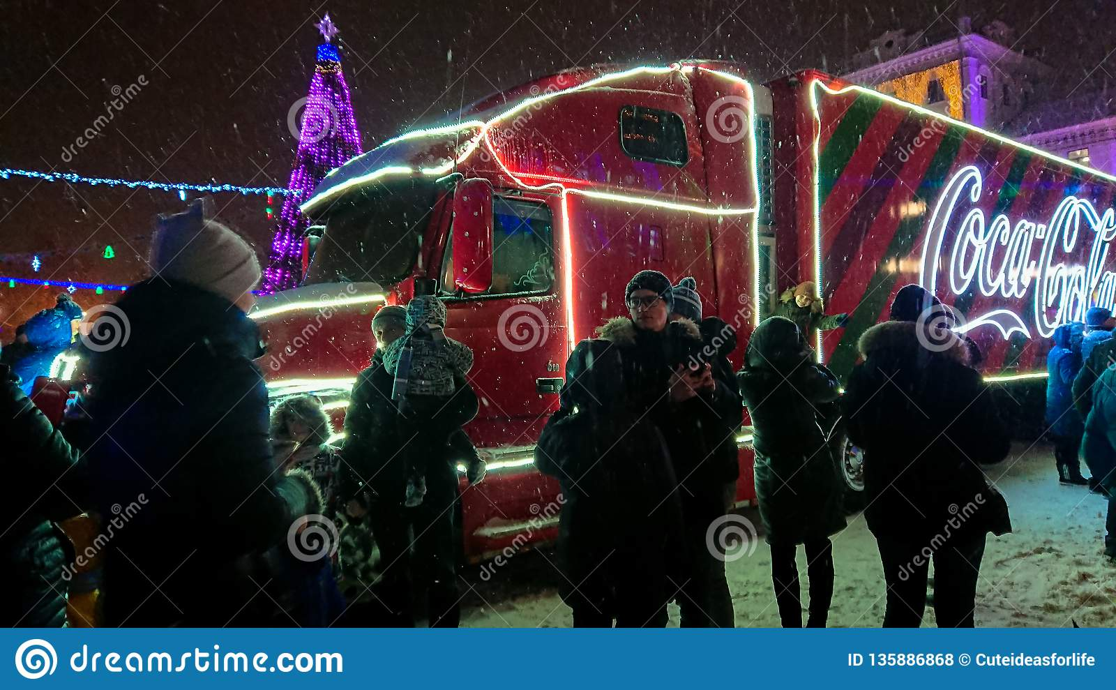Ternopil Ukraine January 5 2019 Coca Cola Christmas
