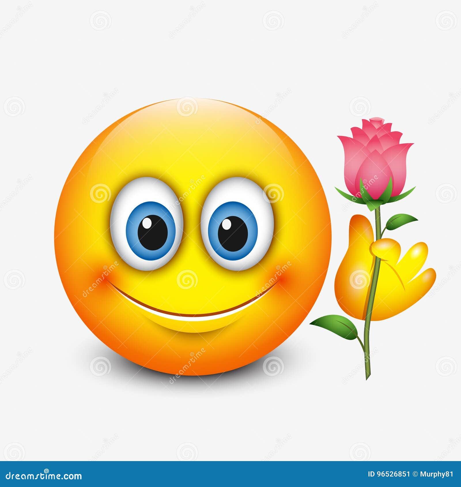 A terra arrendada bonito do emoticon aumentou - dia do ` s do Valentim de Saint - emoji - vector a ilustração