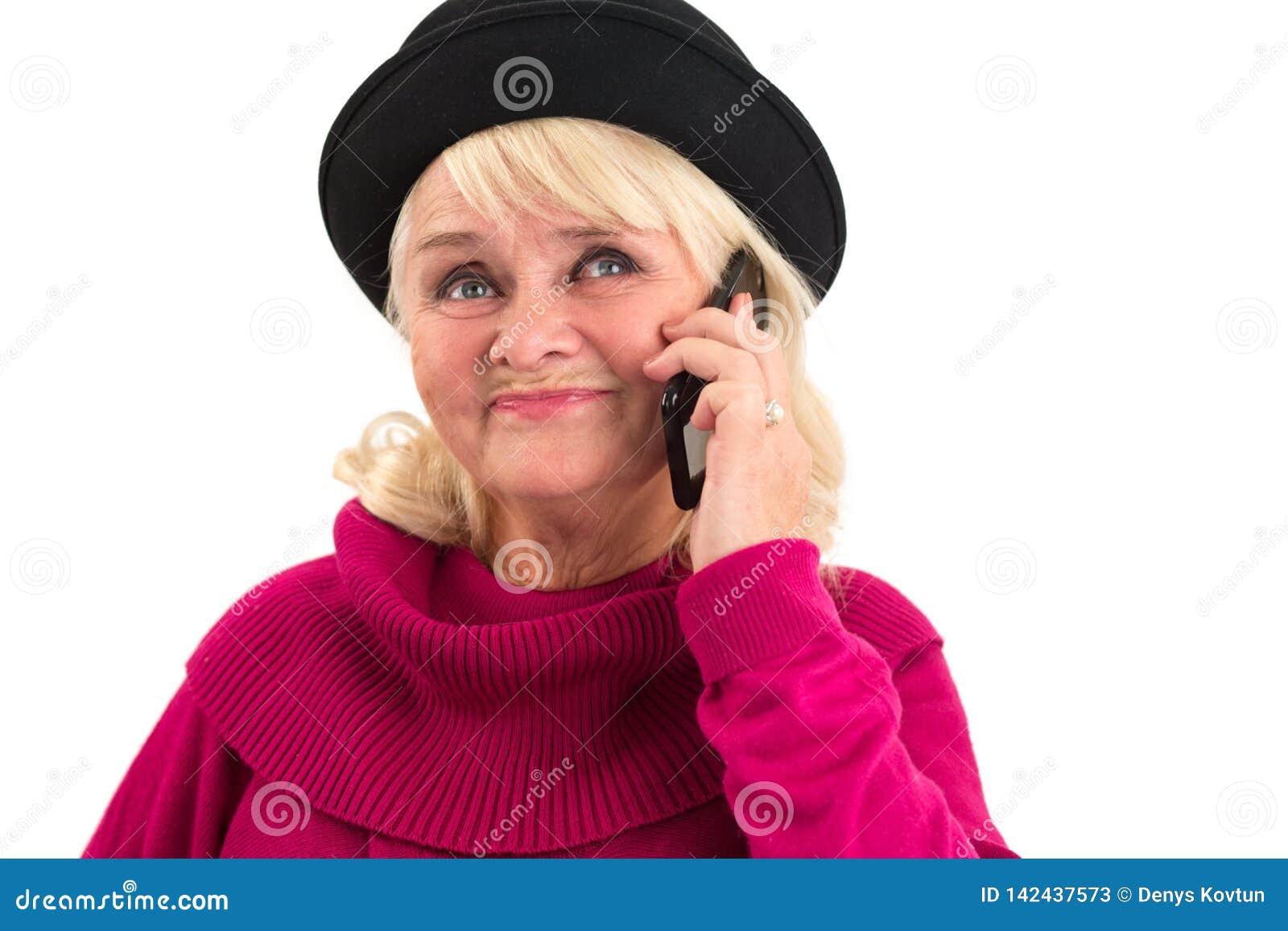 Terra arrendada fêmea superior um telefone celular