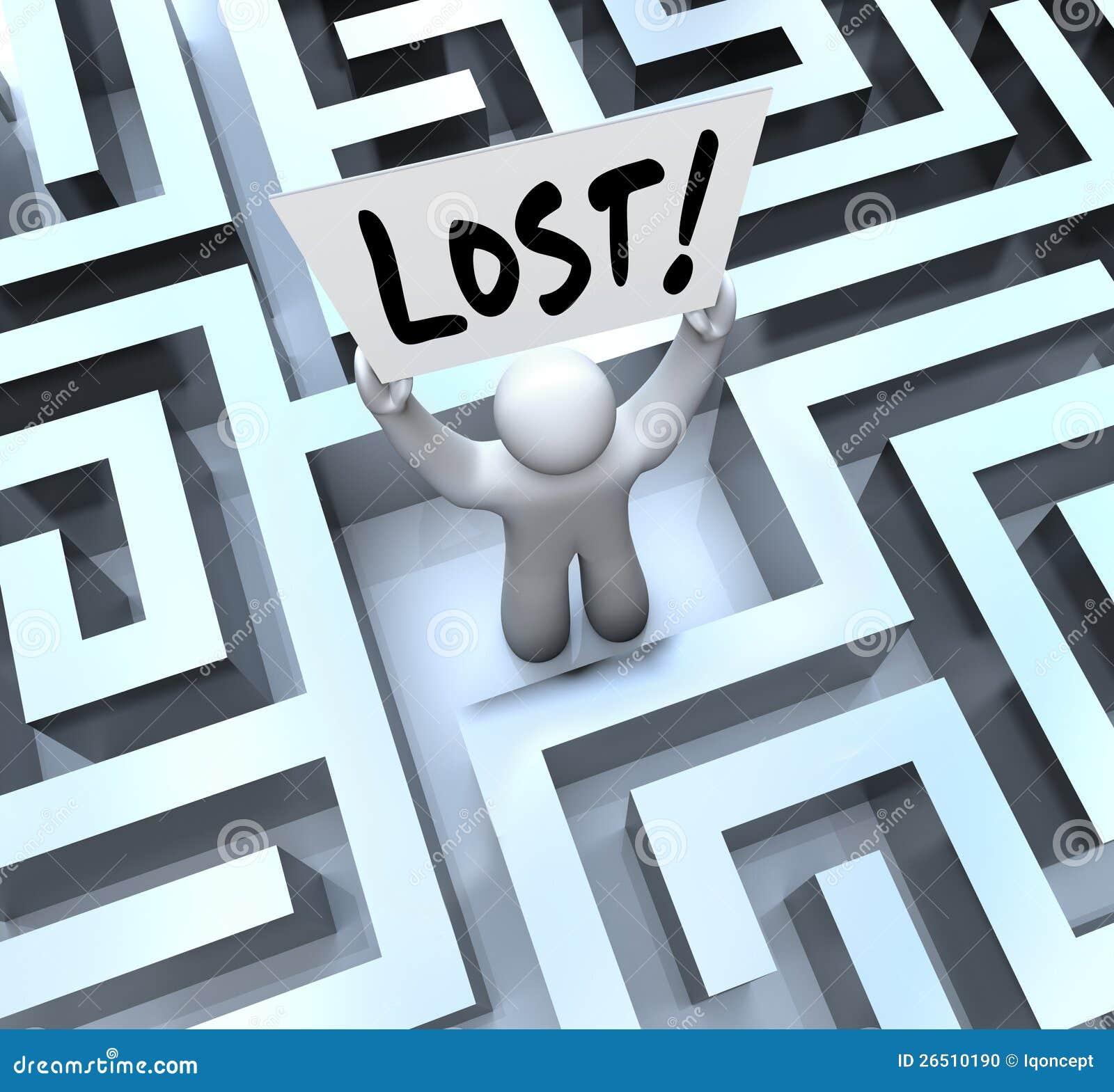 A terra arrendada perdida do homem assina dentro o labirinto do labirinto