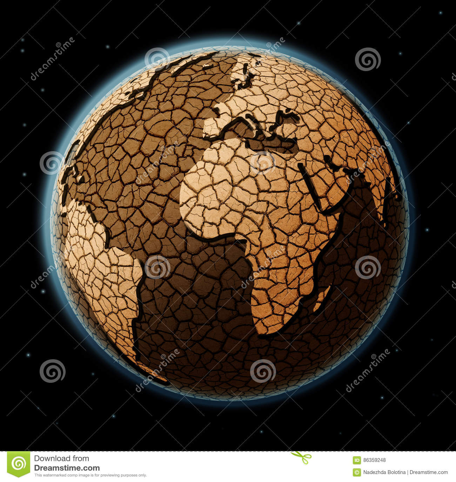Terra asciutta nello spazio