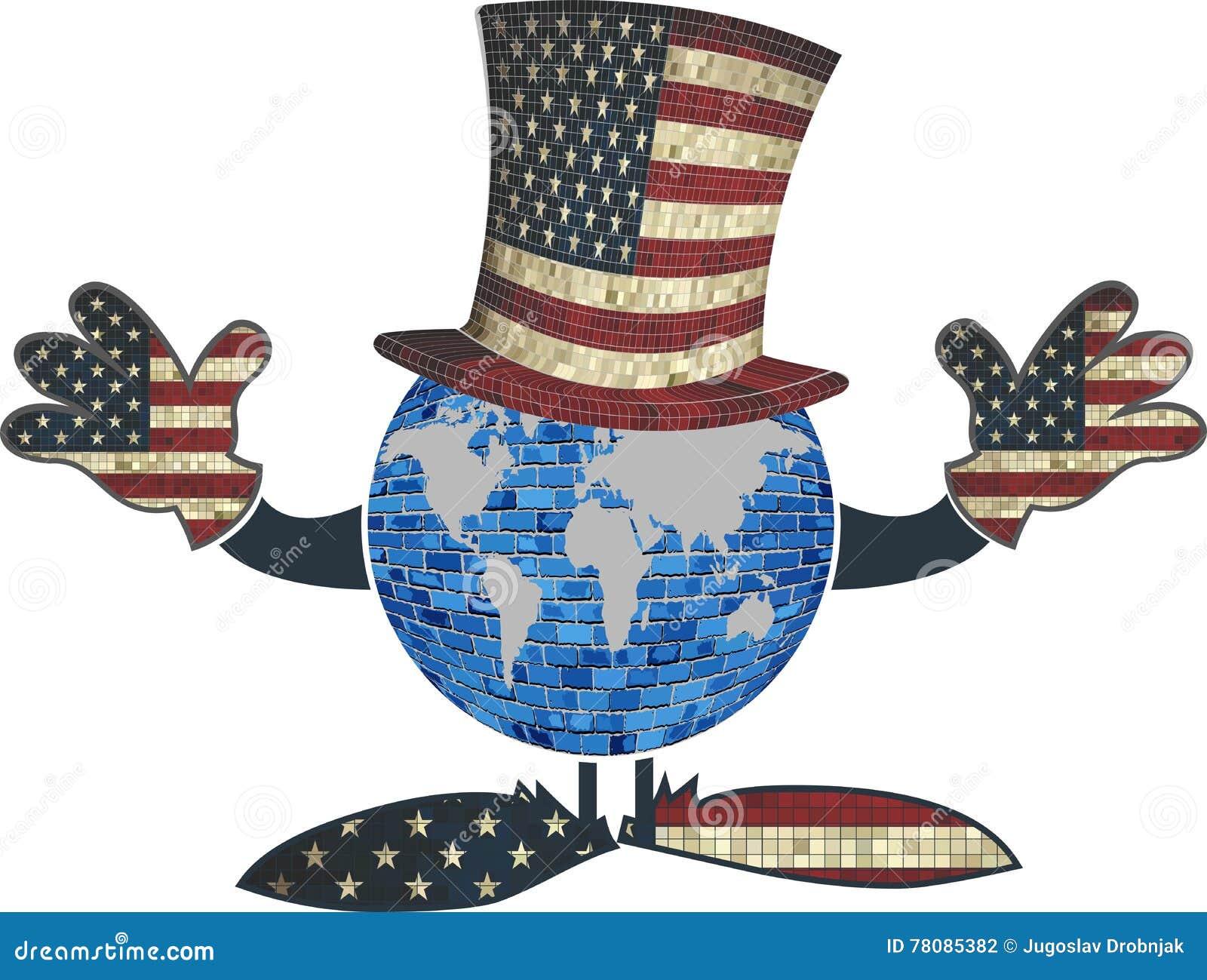 Terra com chapéu e mãos americanos