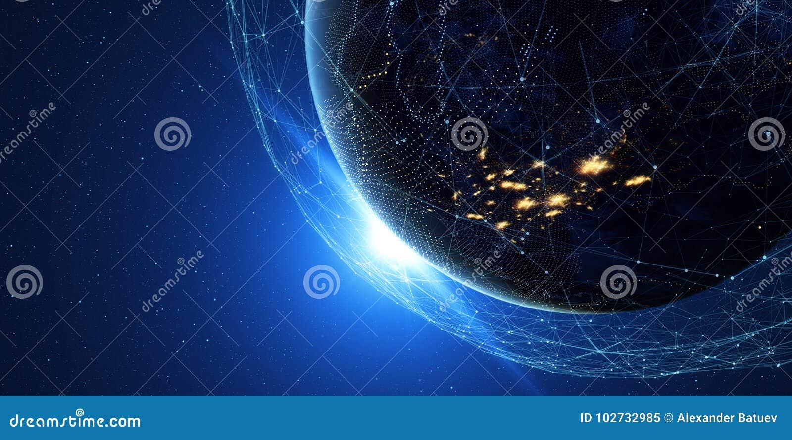 Terra da spazio alla notte con un sistema di comunicazione digitale 3