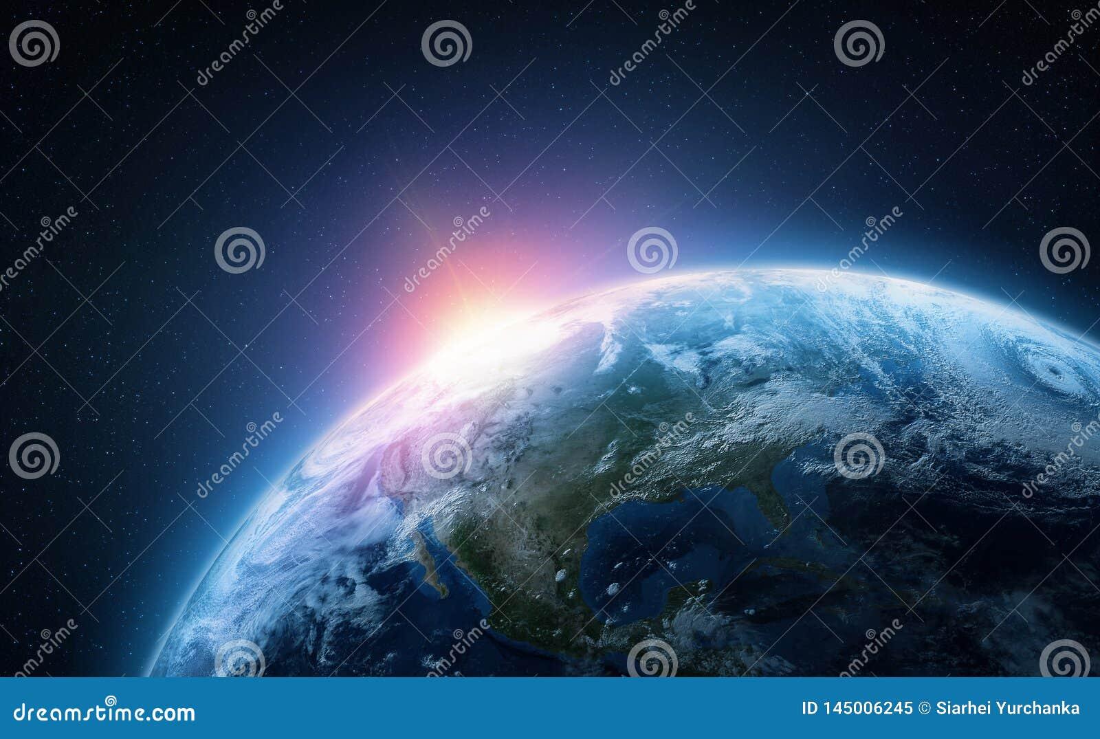 Terra del pianeta Vista dall orbita dello spazio Illustrazione Photorealistic