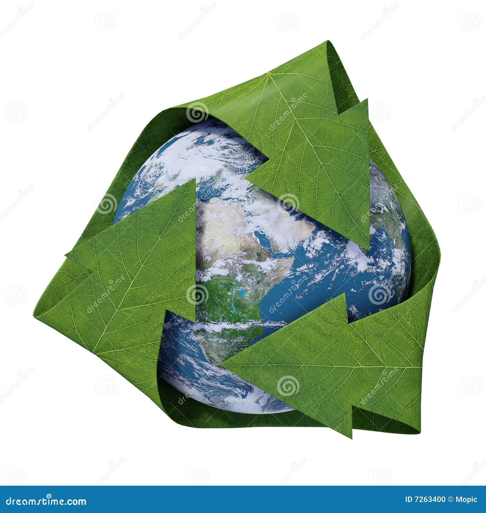 Terra dentro de um símbolo de recicl