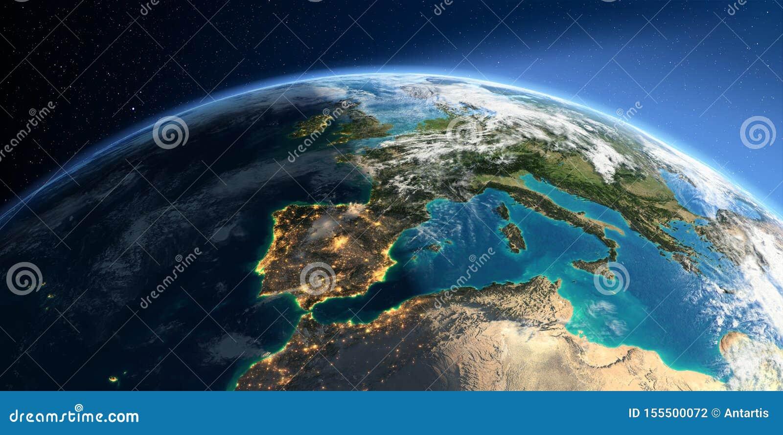 Terra detalhada Espanha e o mar Mediterr?neo