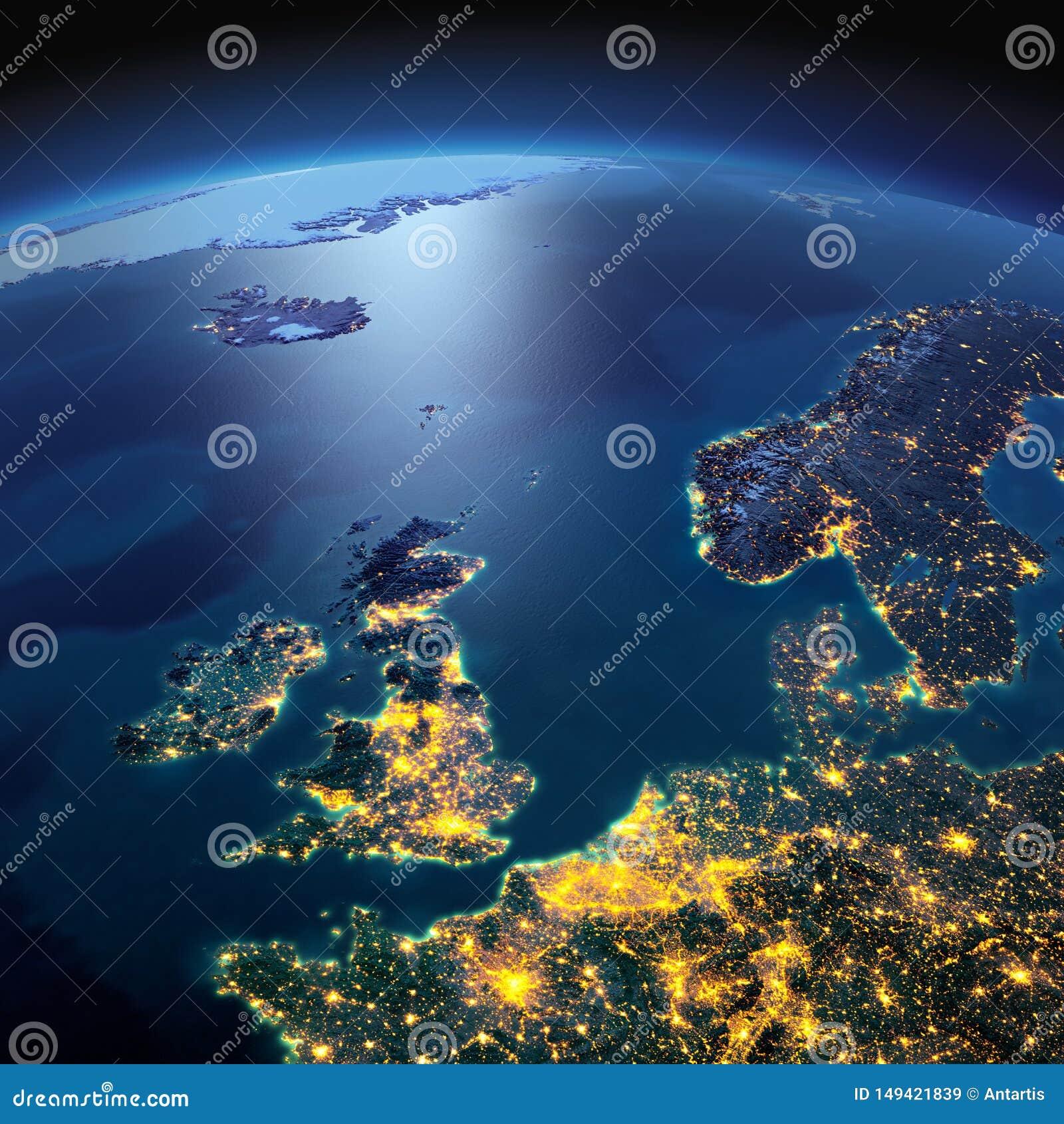 Terra detalhada Reino Unido e o Mar do Norte em uma noite enluarada