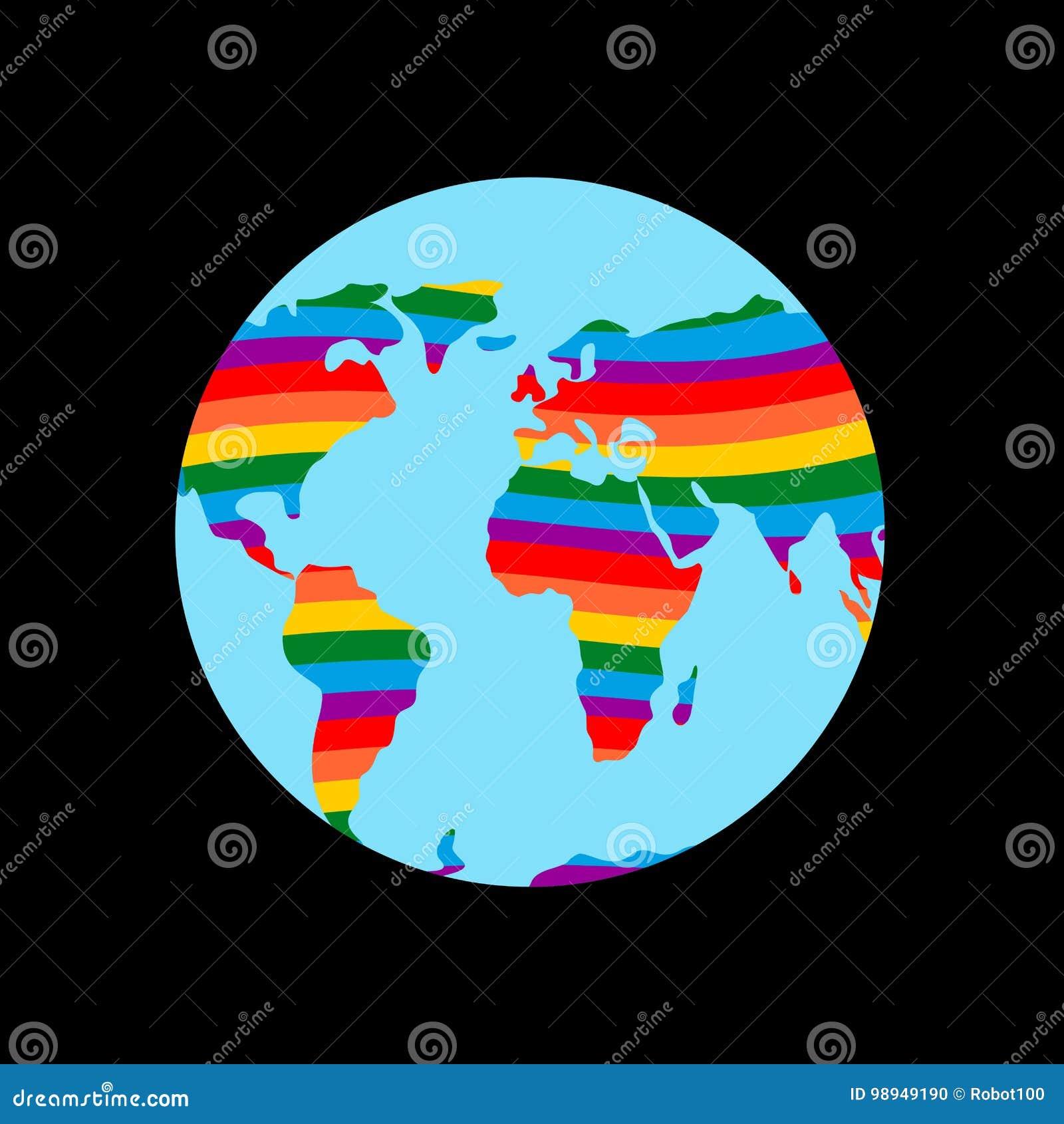 Terra di LGBT Continente del pianeta e colori gay dell arcobaleno della bandiera