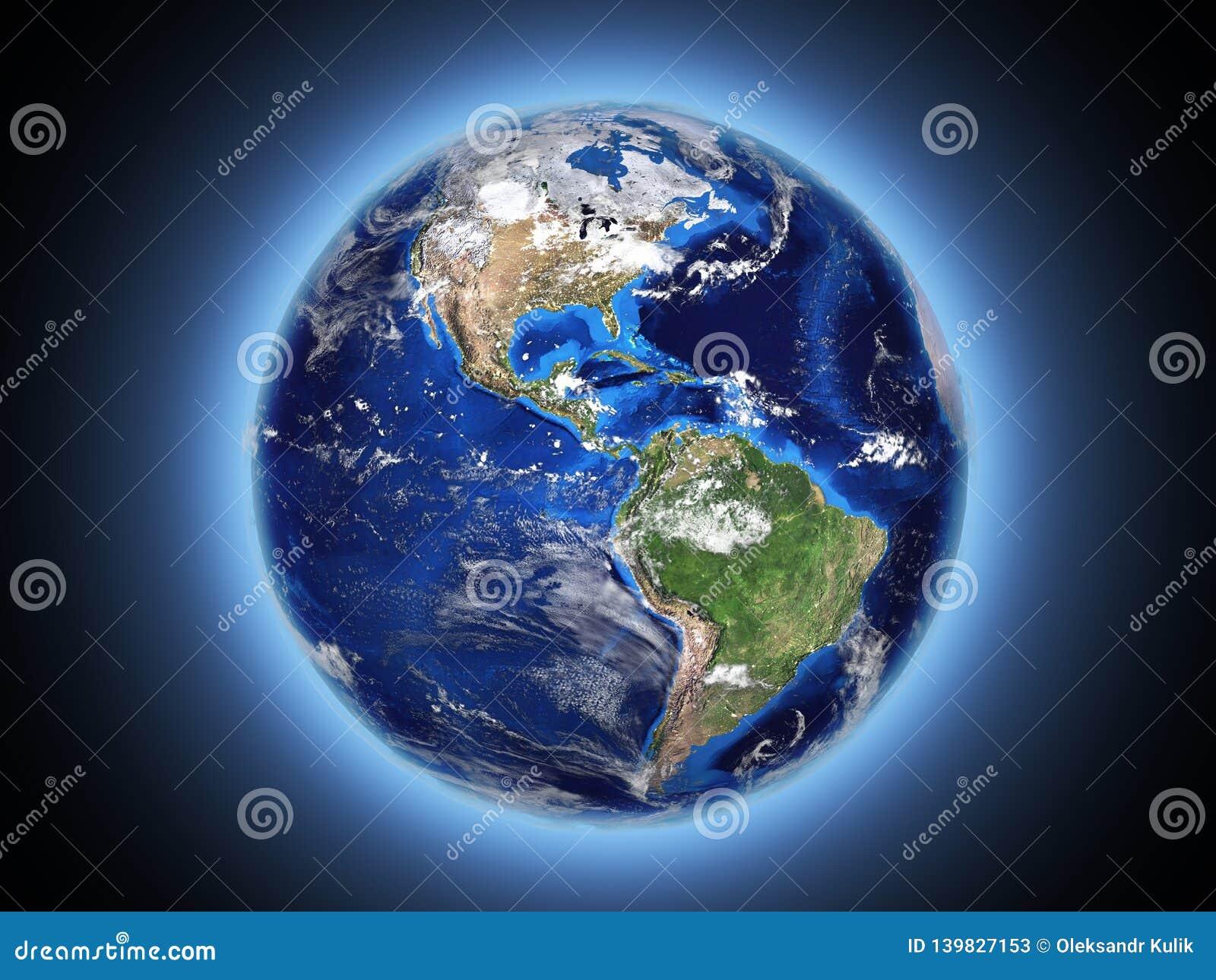 A terra do planeta brilha no espaço 3d