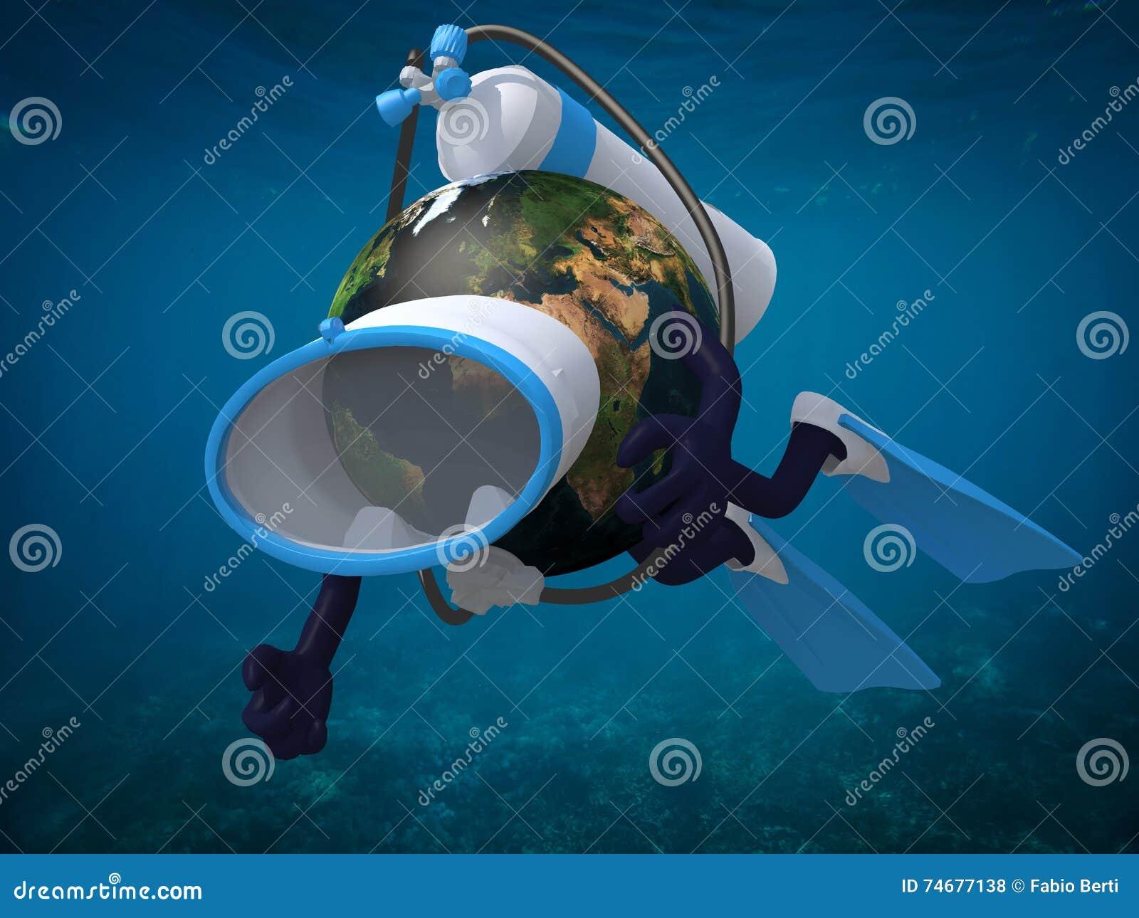 Terra do planeta com óculos de proteção e aletas do mergulho