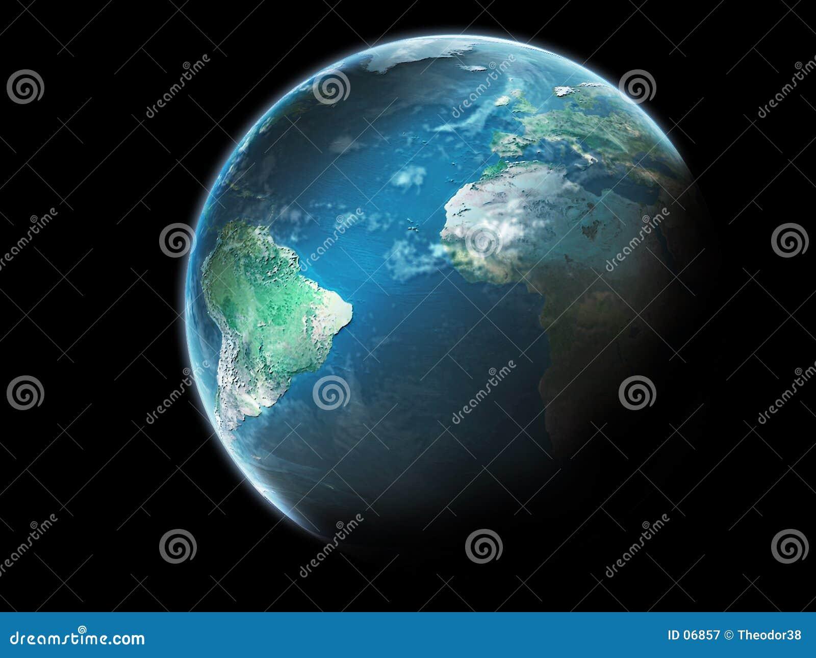 Terra do planeta com nuvens