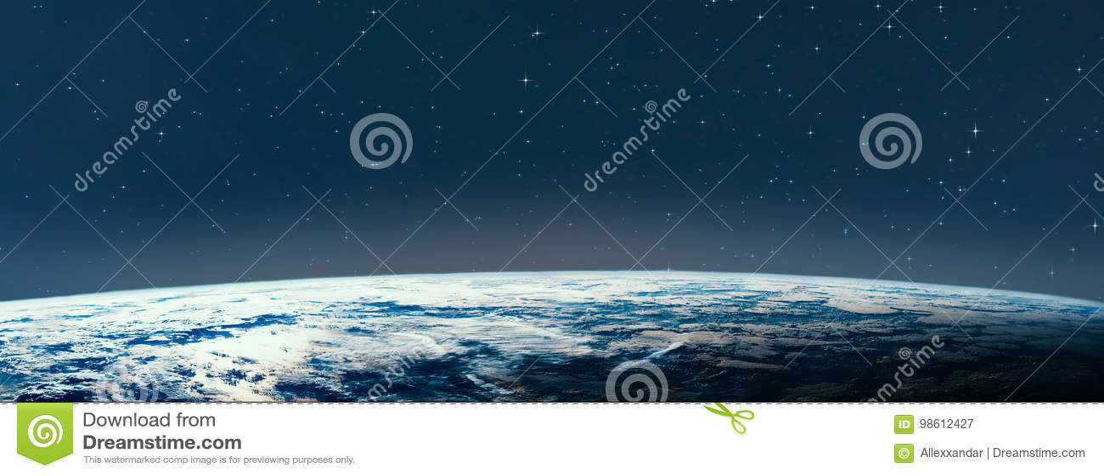 Terra do planeta do espaço na noite