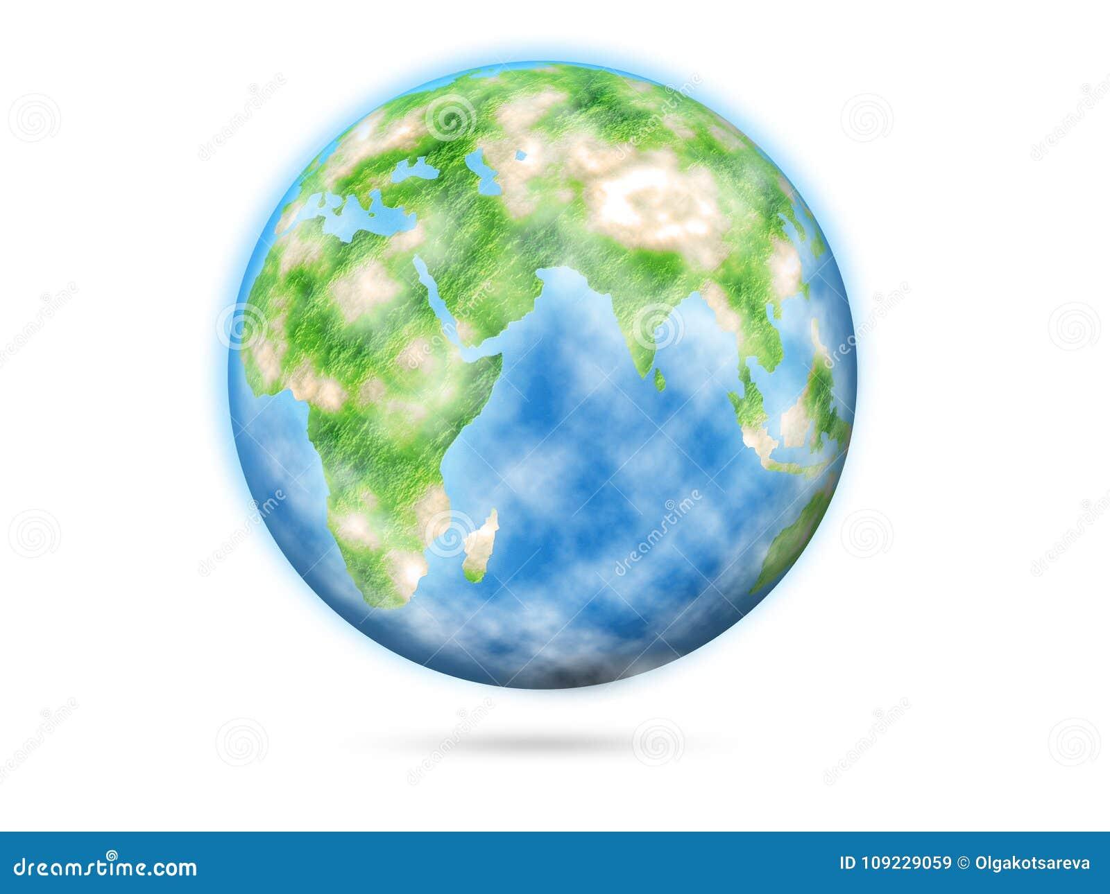 Terra do planeta isolada no fundo branco, ilustração estilizado Dia de terra