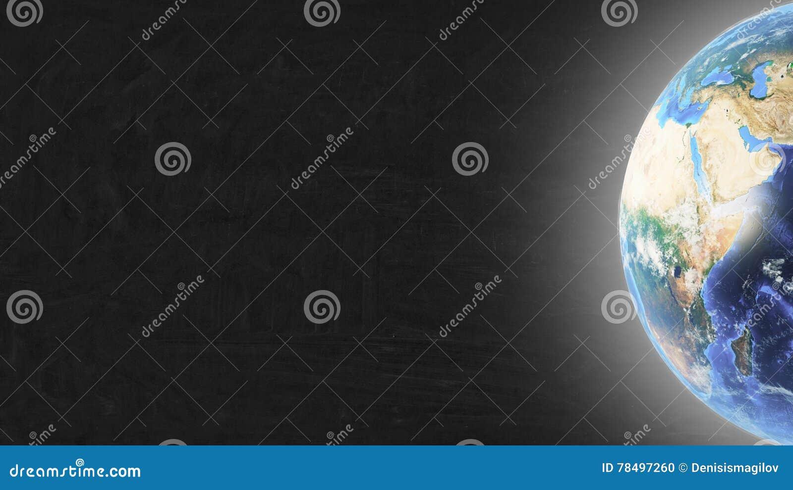Terra do planeta na parte direita da tela e das estrelas