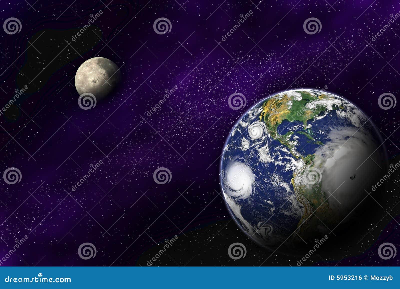 Ilustração Gratis Espaço Todos Os Universo Cosmos: Terra E Lua No Universo Profundo Ilustração Stock