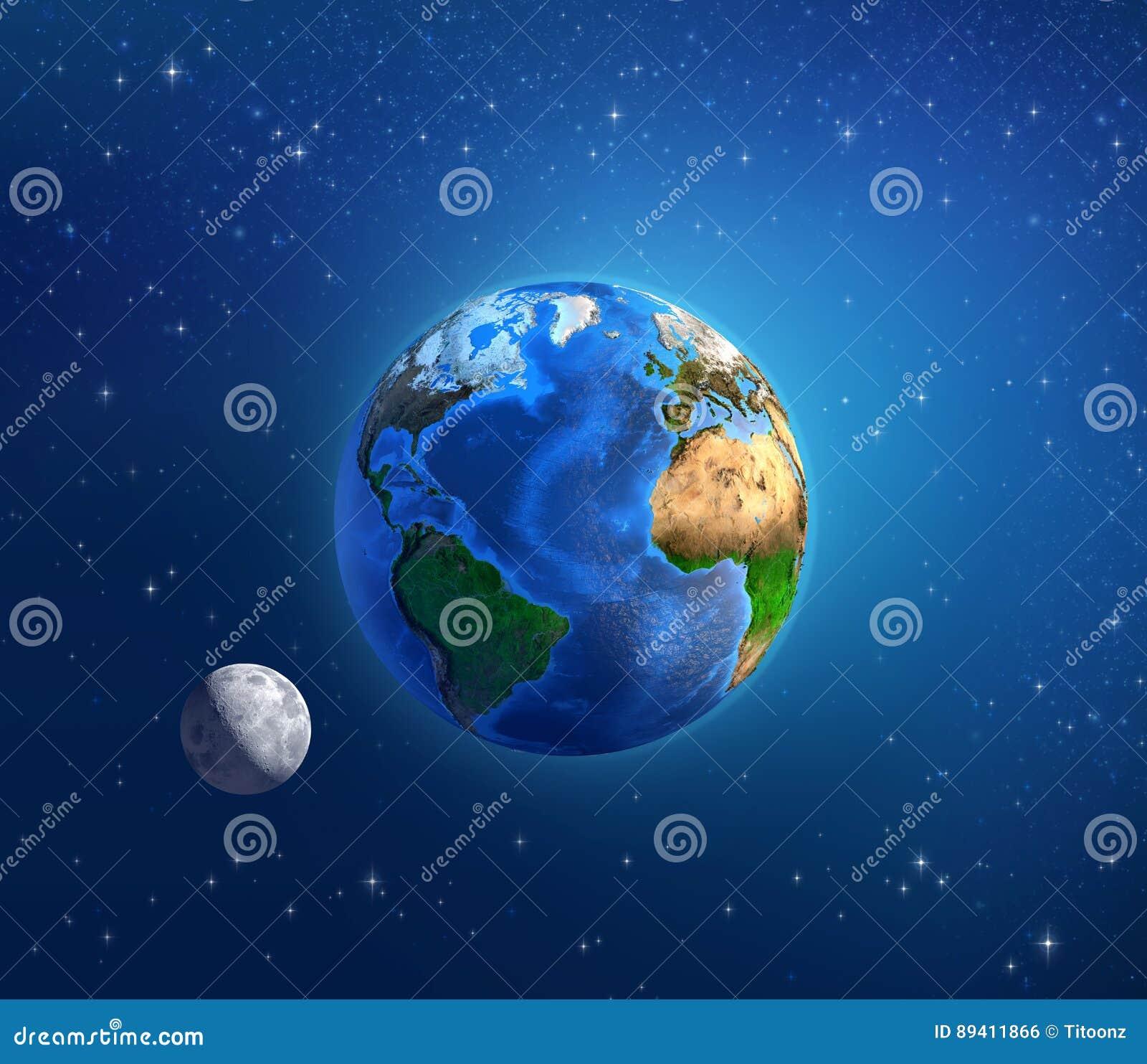 Terra e luar do planeta no espaço profundo