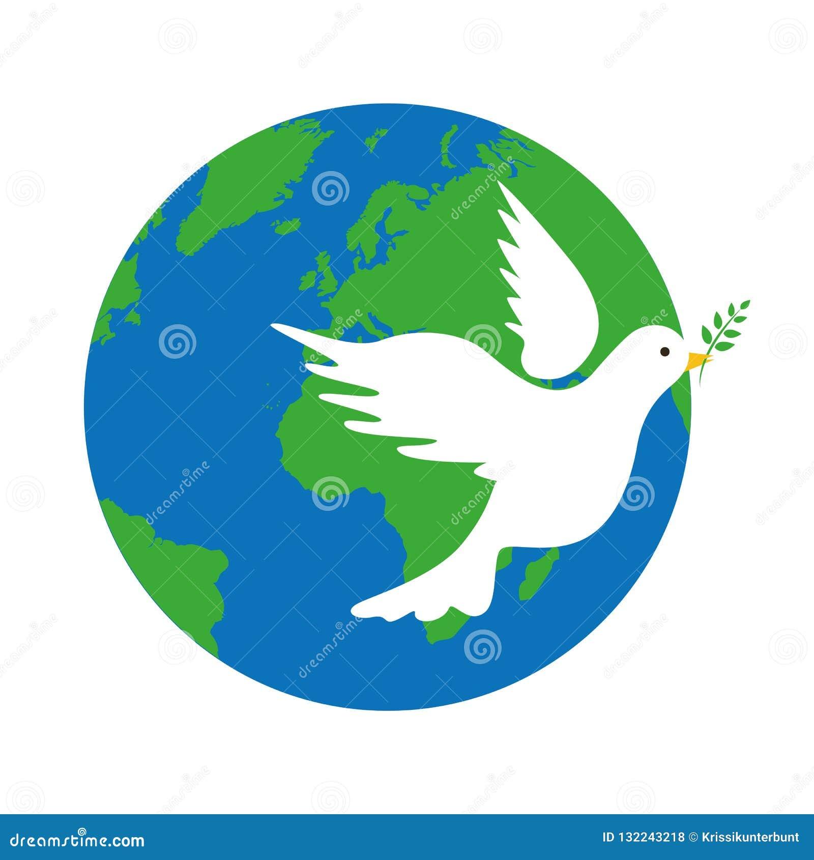 Terra e símbolo de paz branco da pomba