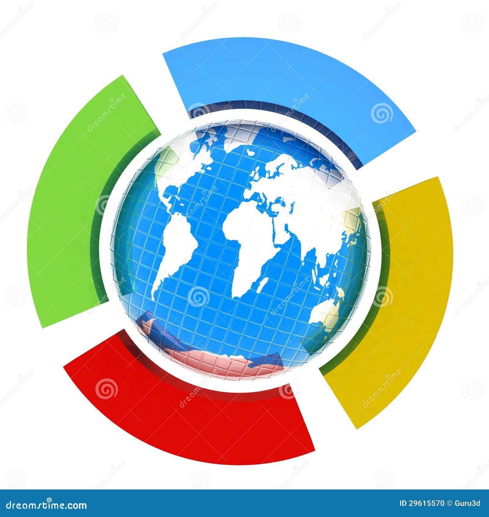 Terra e semicerchio quattro. Il concetto della stagione quattro volte (inverno-blu, utumn estate-rosso e giallo-un di verde della