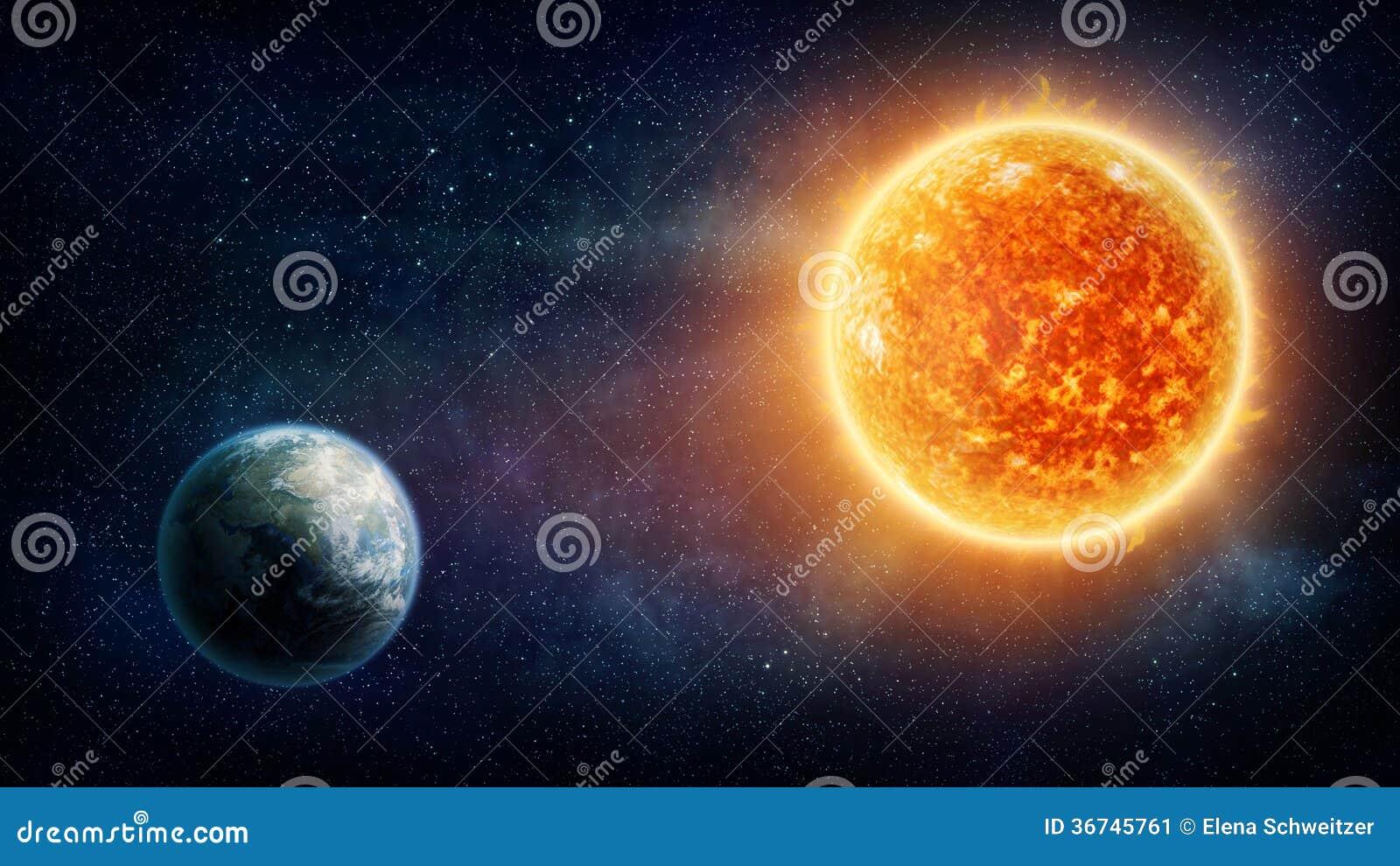 Terra e sol do planeta