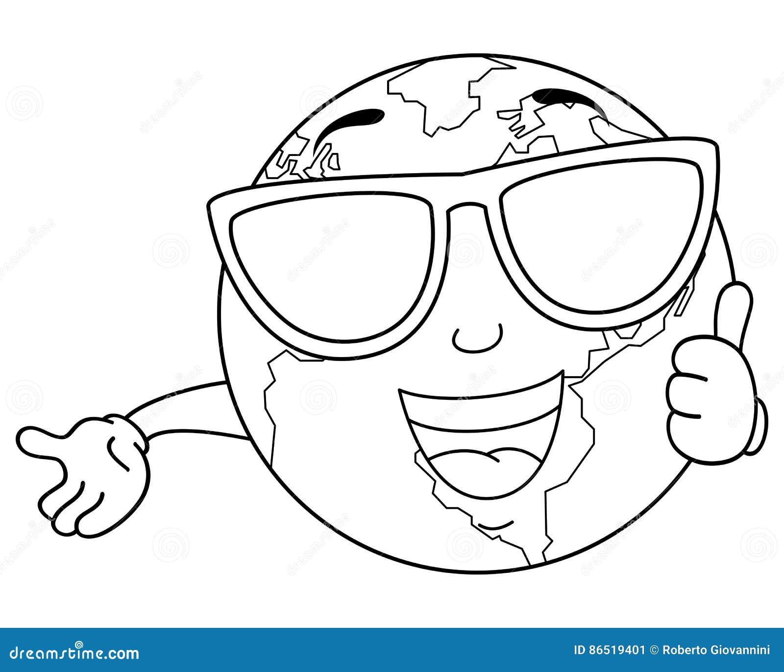Terra Fresca Colorindo Do Planeta Com Oculos De Sol Ilustracao Do