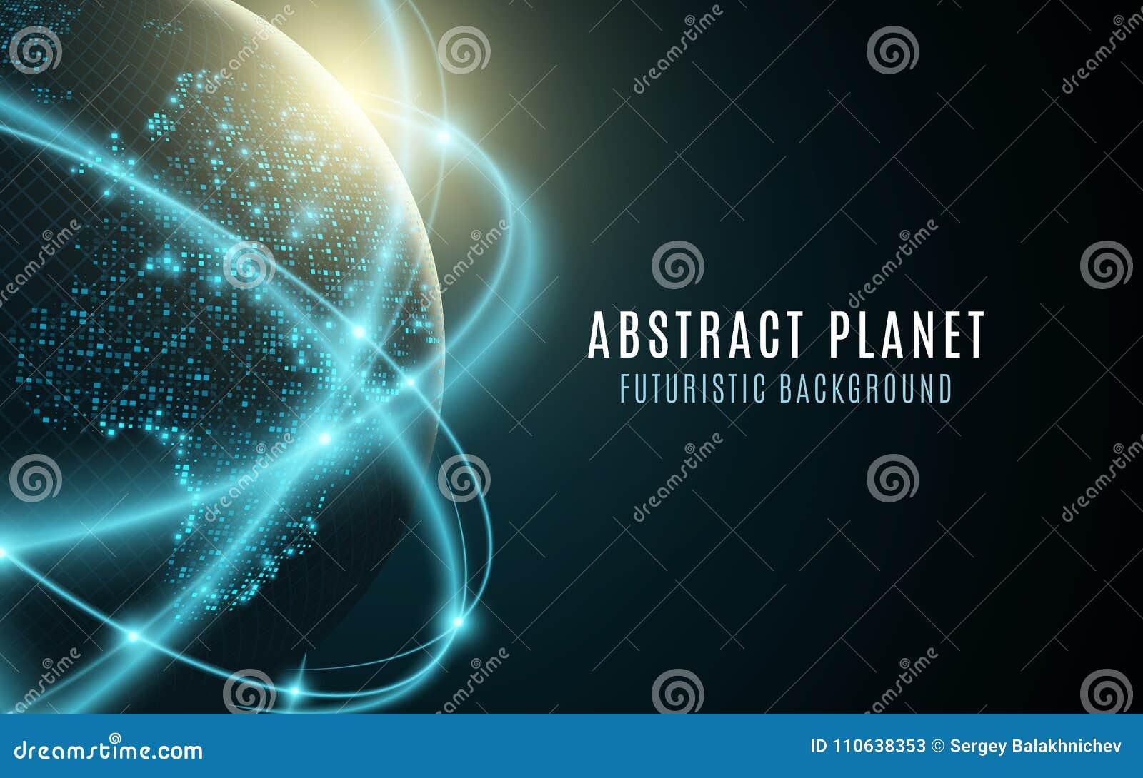 Terra futurista do planeta Mapa do mundo de incandescência dos pontos abstraia o fundo Composição do espaço Conexão de rede globa
