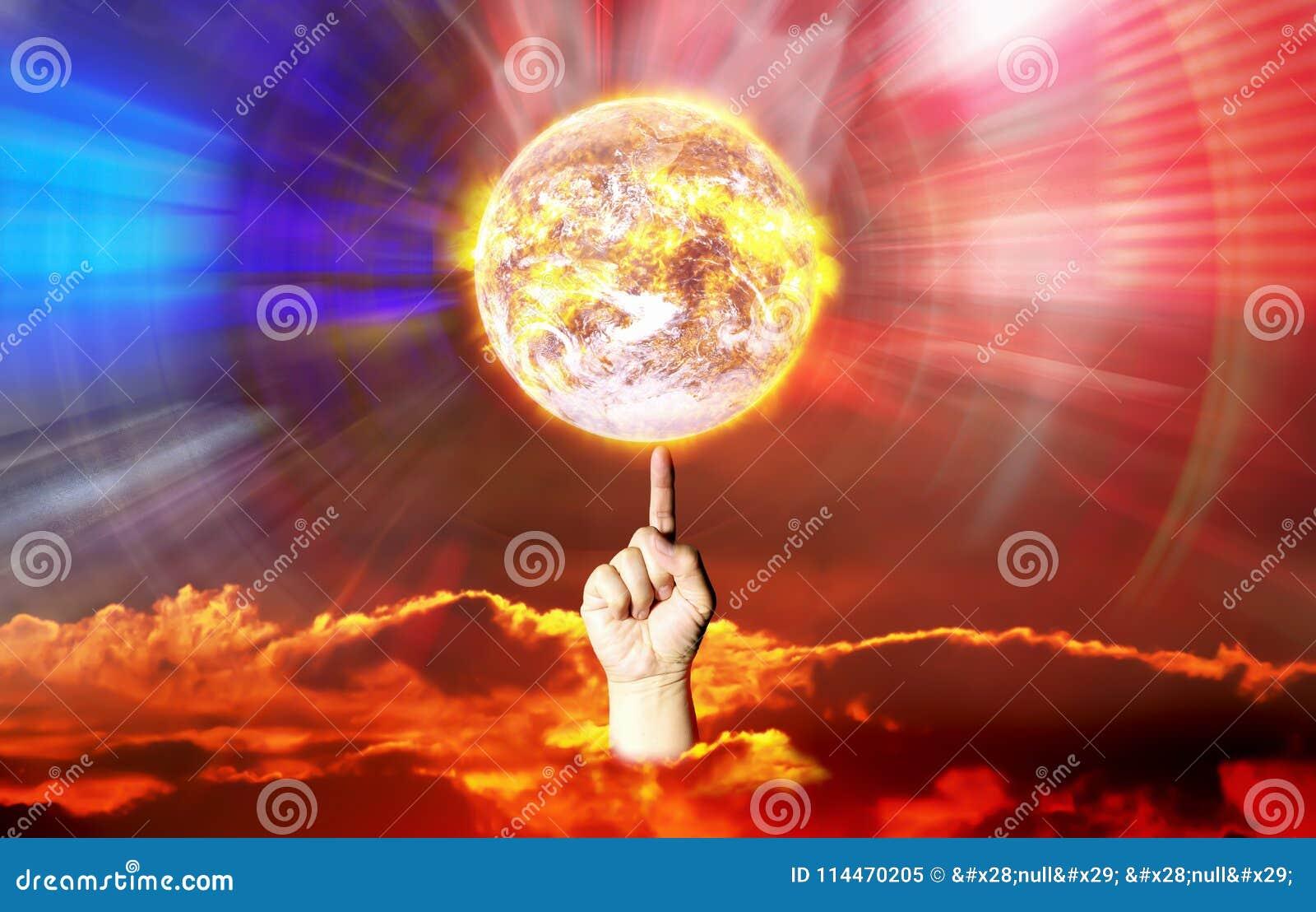 Terra quente da rotação do dedo mostrada a manipulação da causa do poder do controle