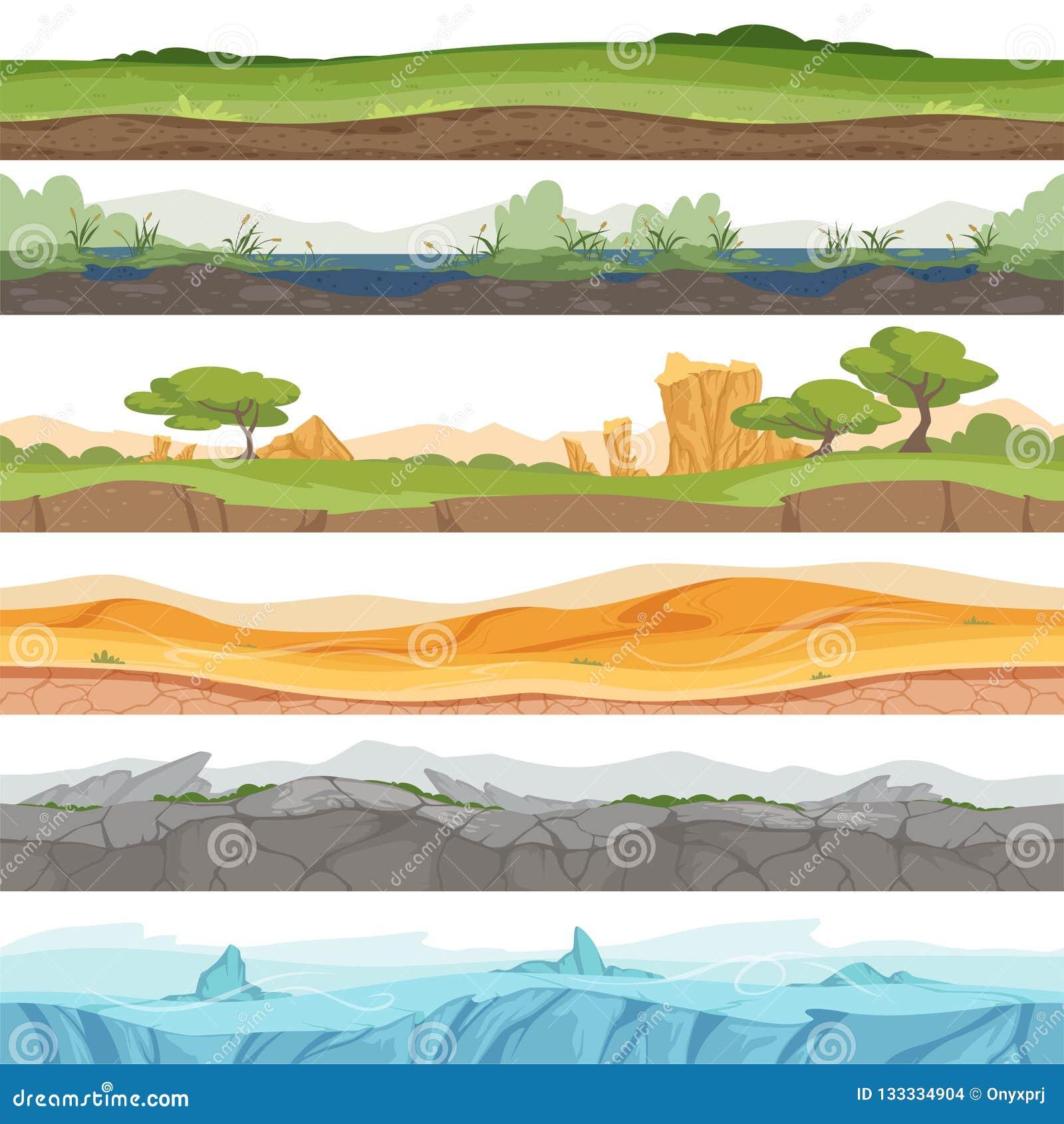 Terra senza cuciture di parallasse Fondo del fumetto di vettore della roccia della sporcizia del deserto dell acqua dell erba del