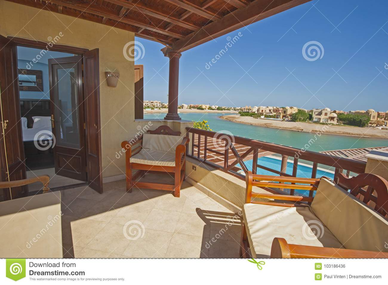 Beau Terrace Balcony From Bedroom With Chairs At Tropical Luxury Vill