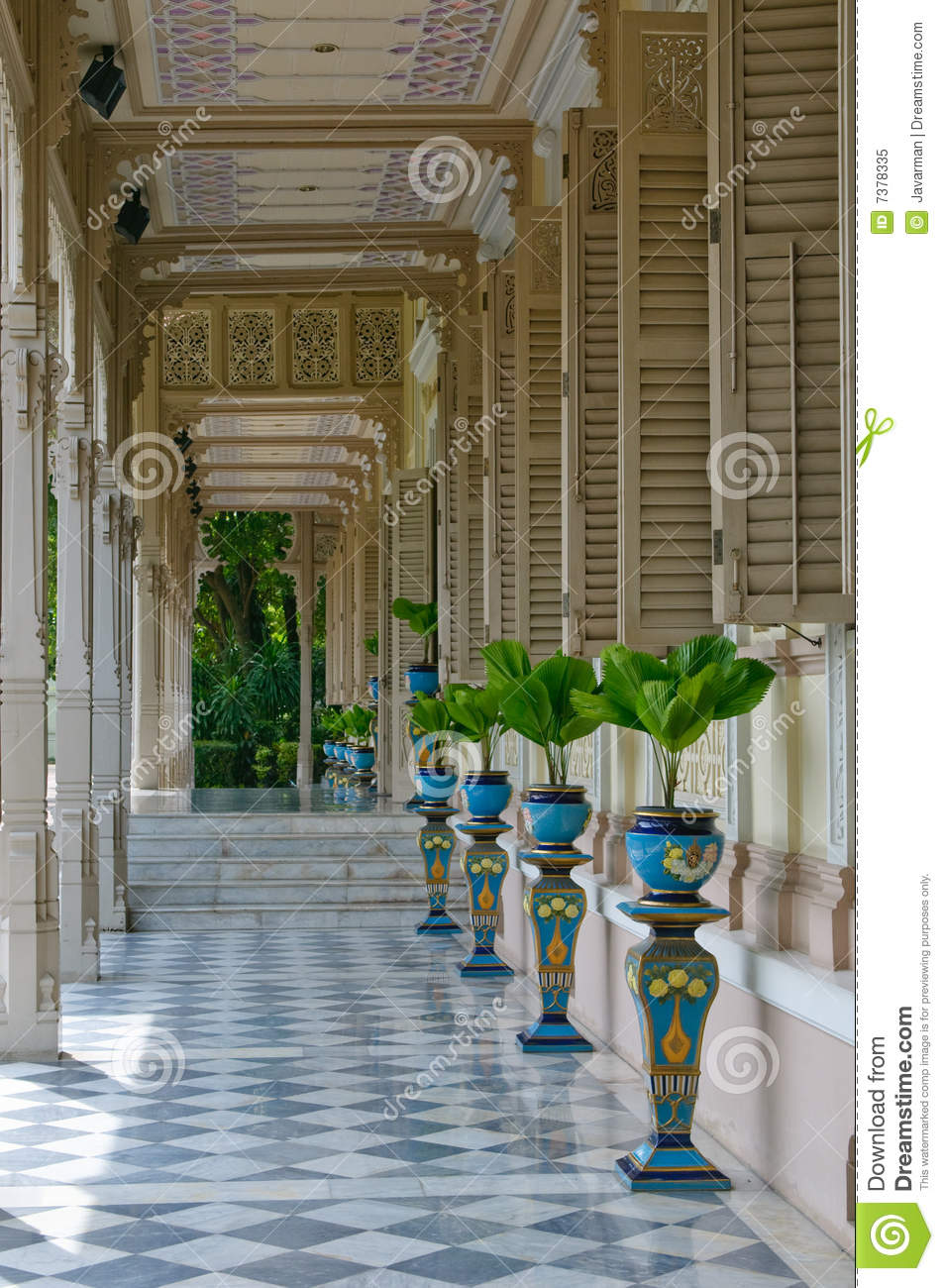 Terrace In Colonial Style House Royalty Free Stock Photo