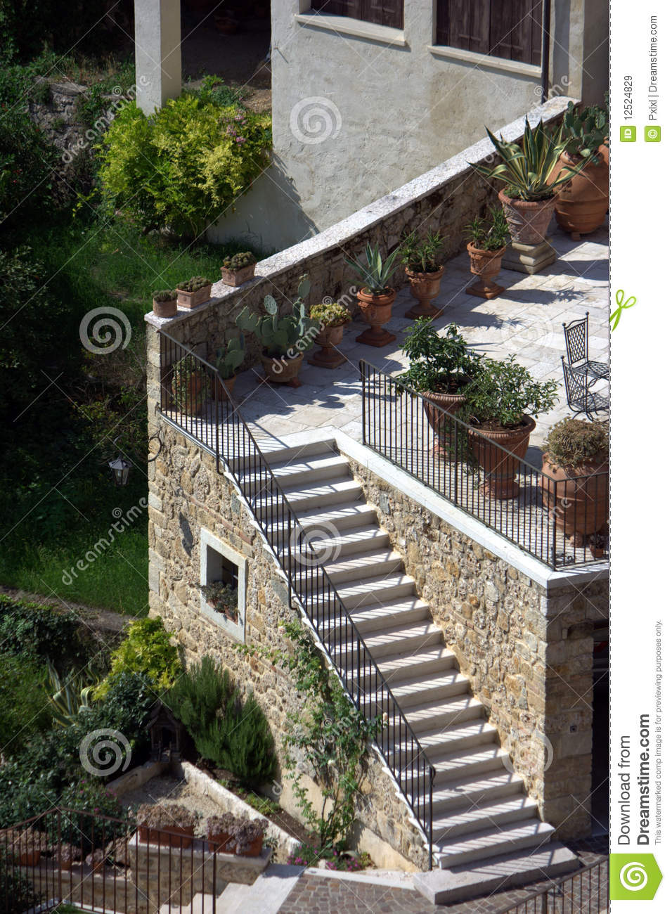 Terrace with external stairs stock image image 12524829 for Terrace stairs