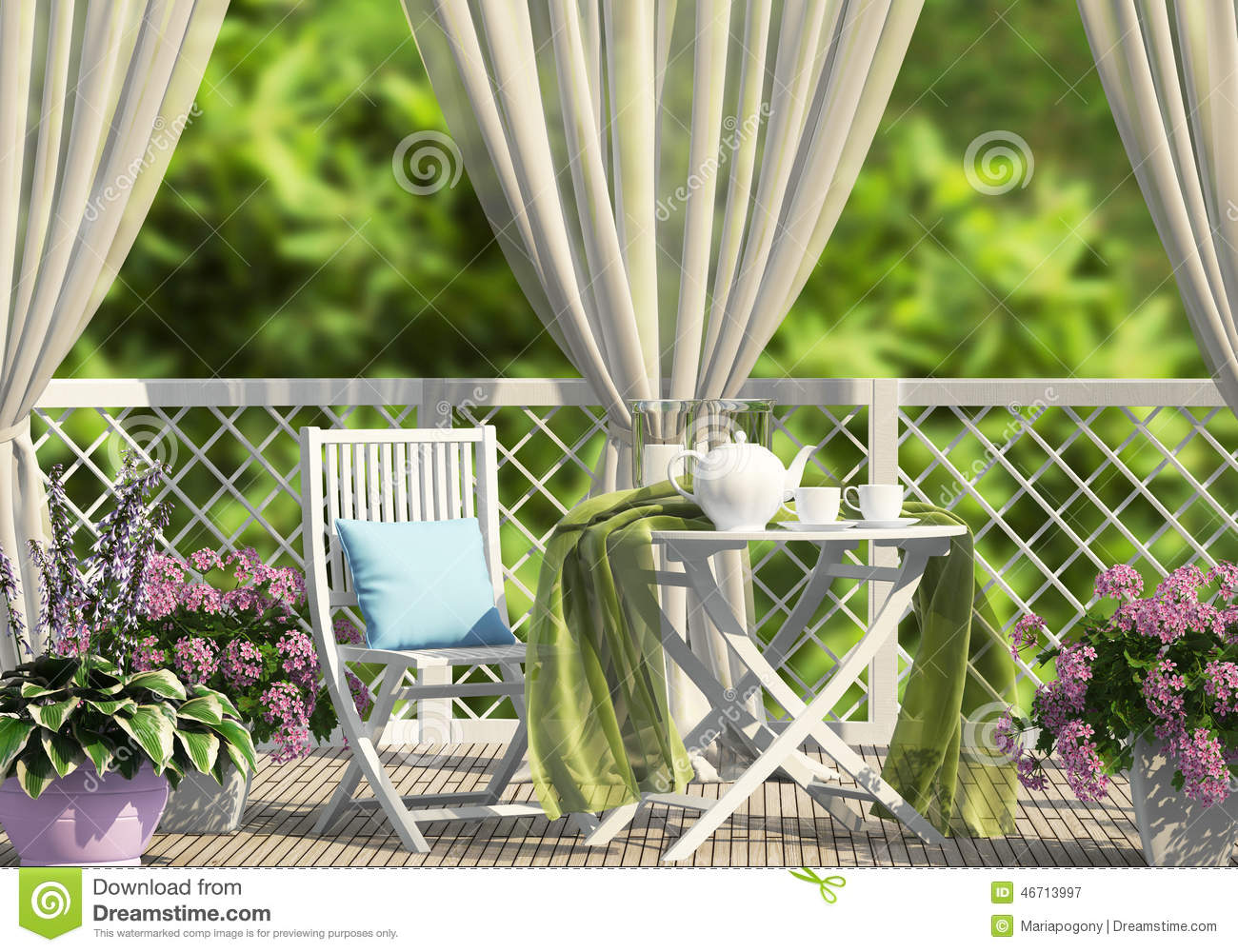 Download Terrace In The Garden With Curtains Stock Image   Image Of Cloth,  Green: