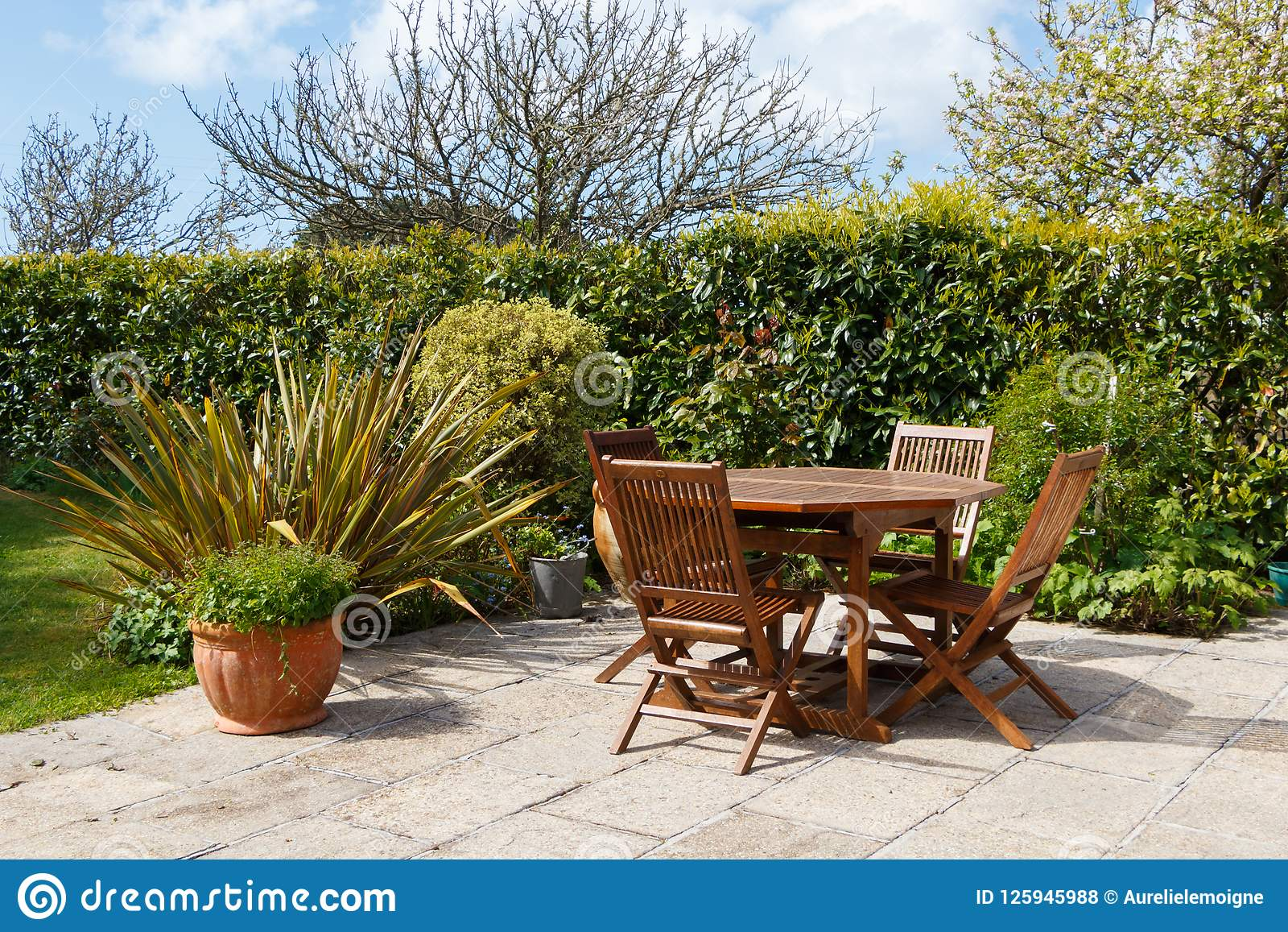 Terrace And Garden Furniture Stock Photo - Image of tree, table ...