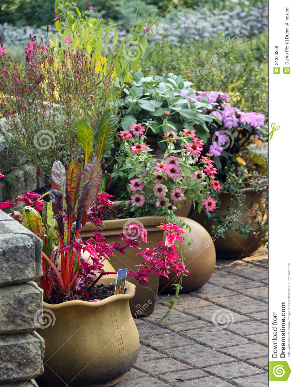Terrace garden with pot plants royalty free stock image for Terrace garden plants