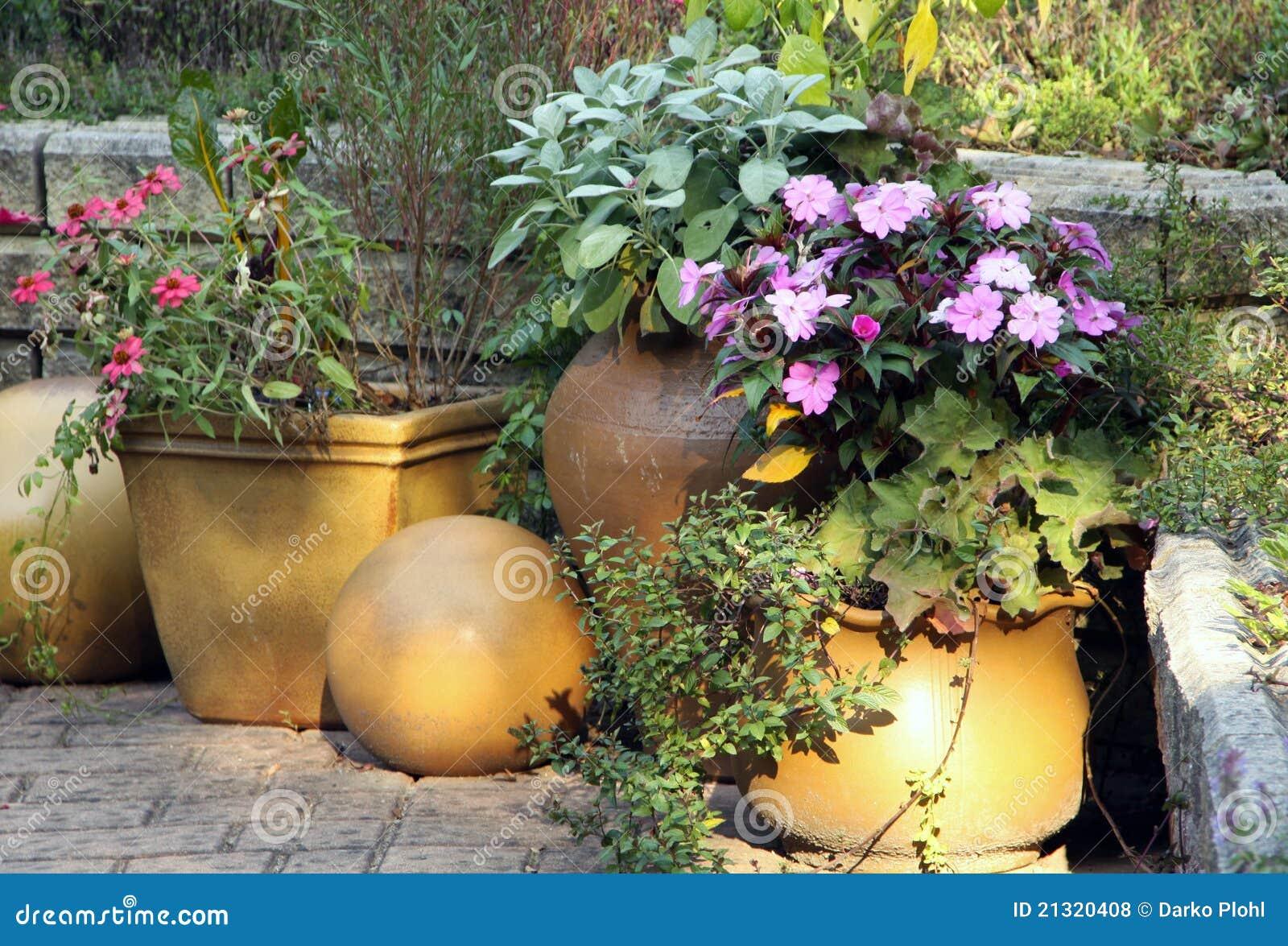 Terrace garden with pot plants royalty free stock photos for Terrace garden plants