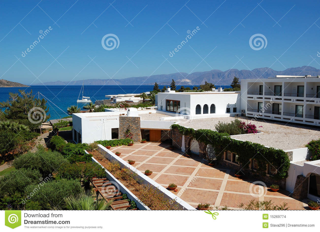 The terrace of greek luxury hotel stock images image for Hotel the terrace