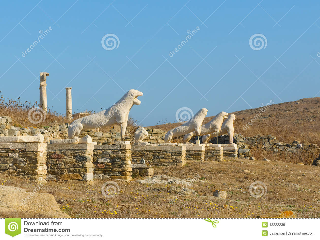 The Terrace Of The Lions, Delos, Greece Royalty Free Stock ...