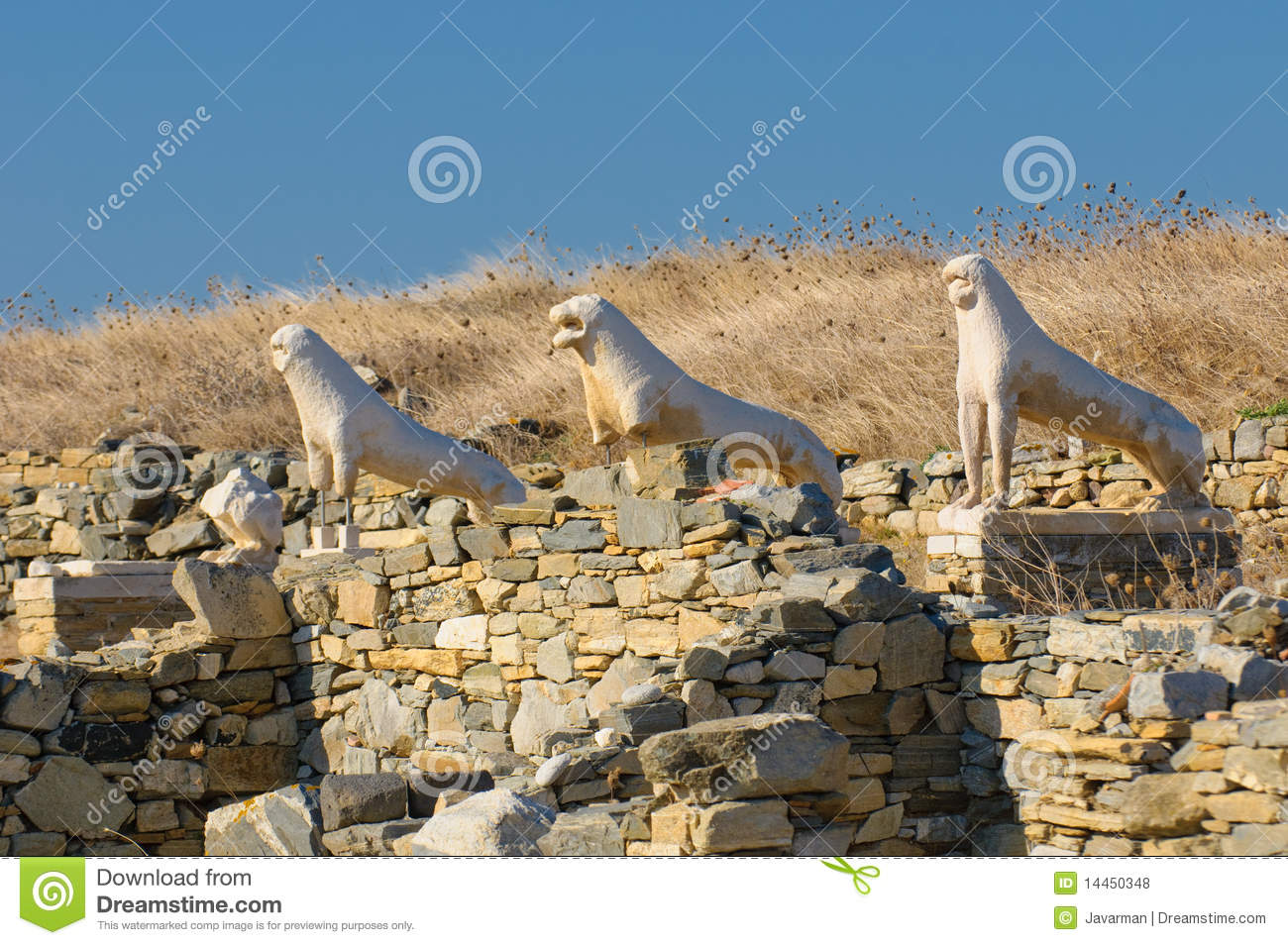 The Terrace Of The Lions, Delos Island, Greece Royalty ...